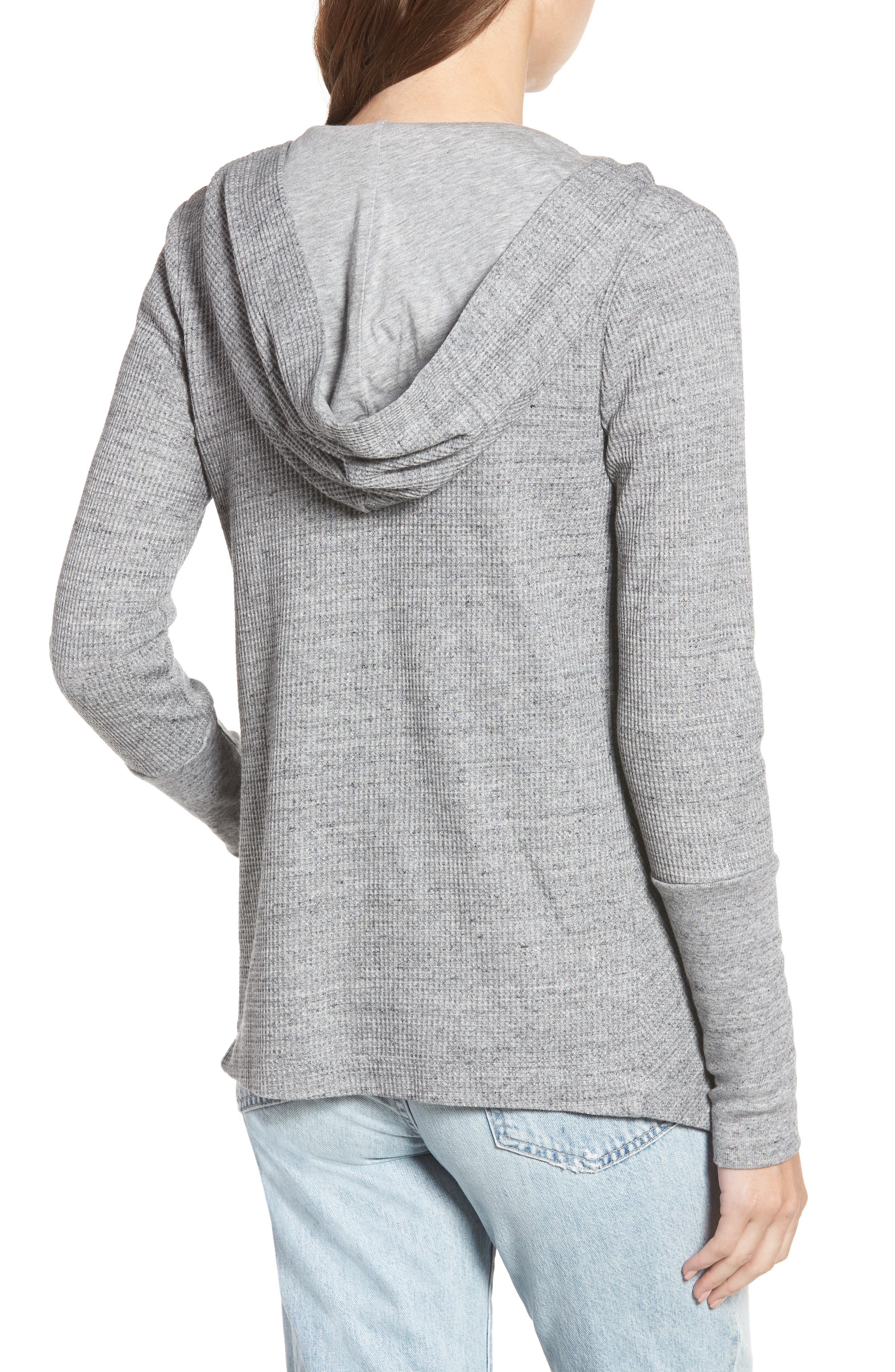 Thermal Hooded Cardigan,                             Alternate thumbnail 2, color,                             GRAVEL HEATHER GREY