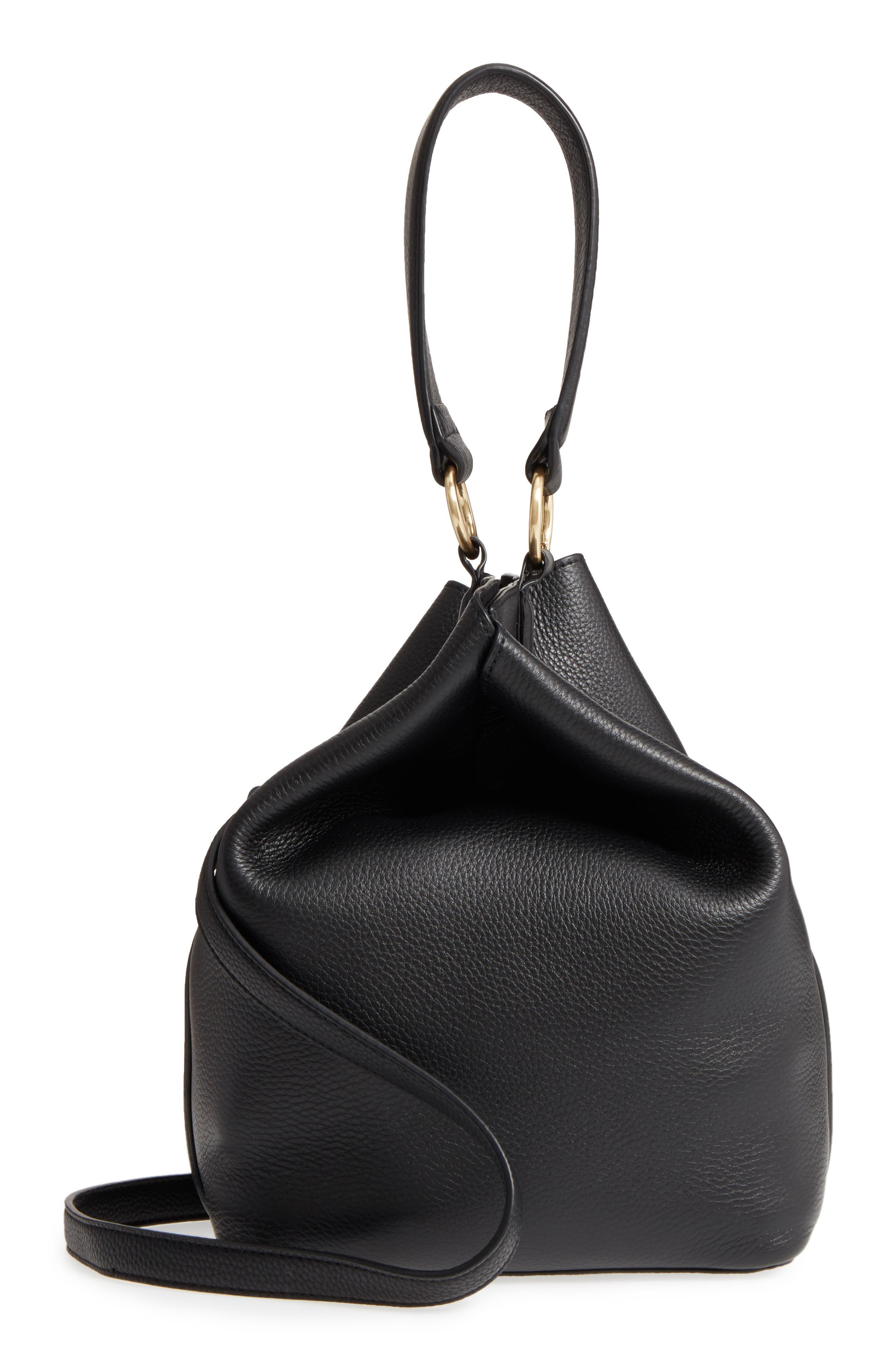 Renee Leather Bucket Bag,                             Main thumbnail 1, color,                             001