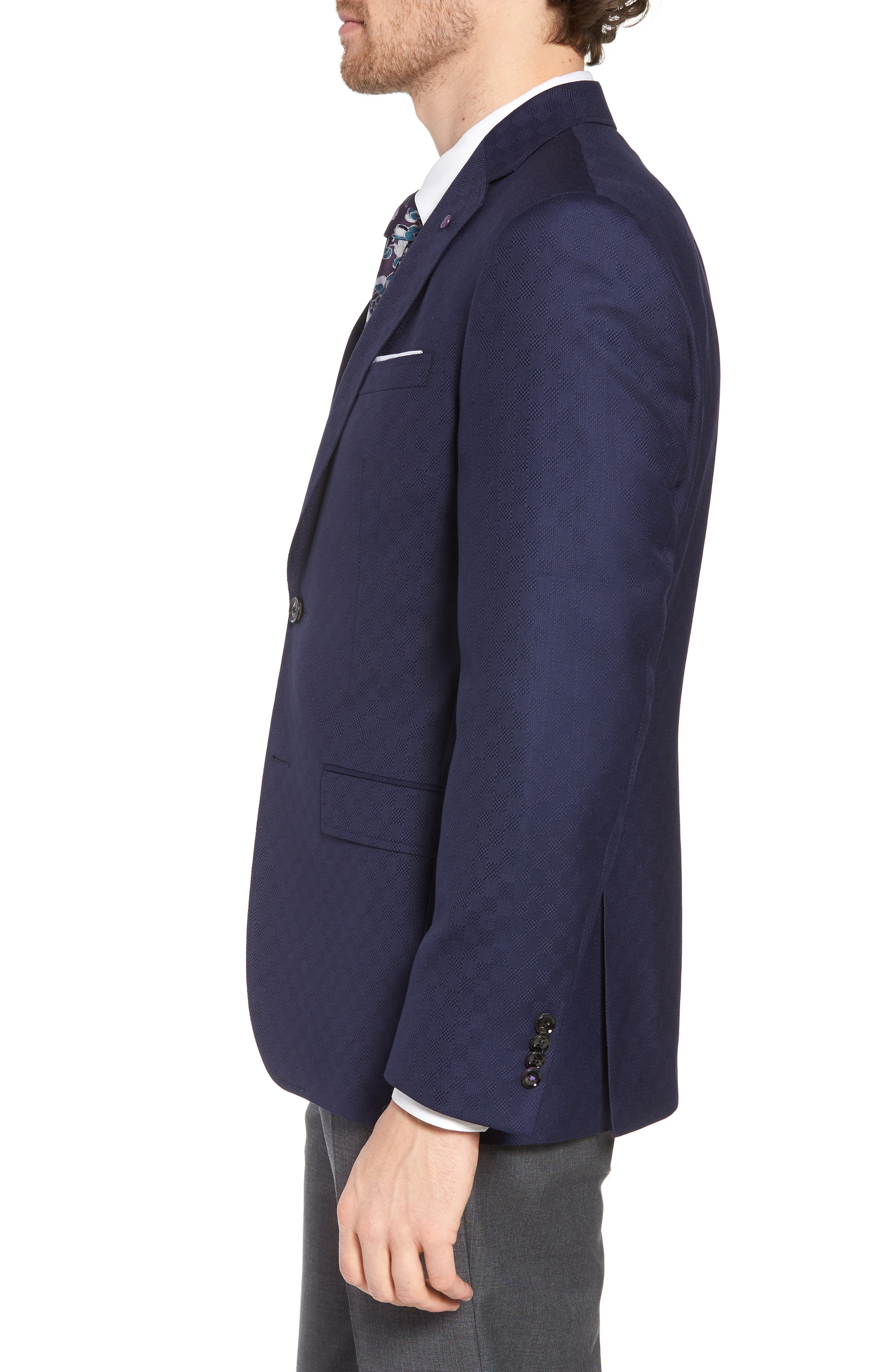 Jay Trim Fit Check Wool Sport Coat,                             Alternate thumbnail 3, color,                             400