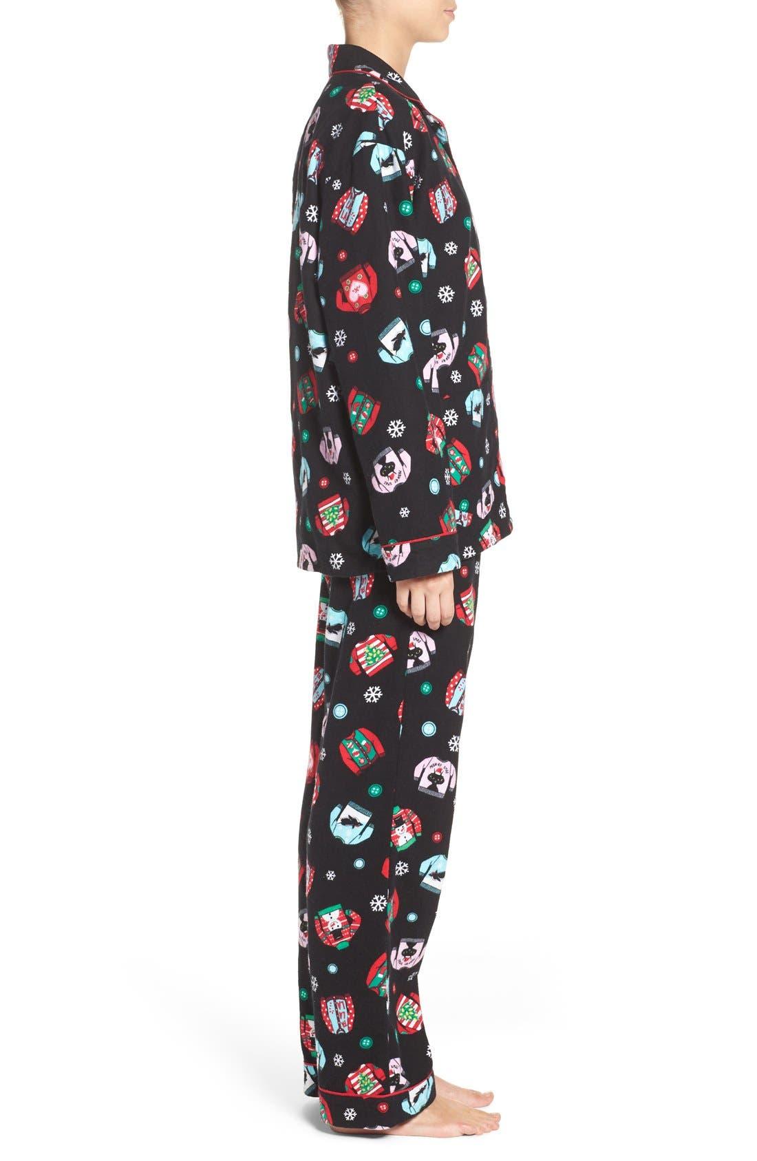 Print Flannel Pajamas,                             Alternate thumbnail 3, color,                             001