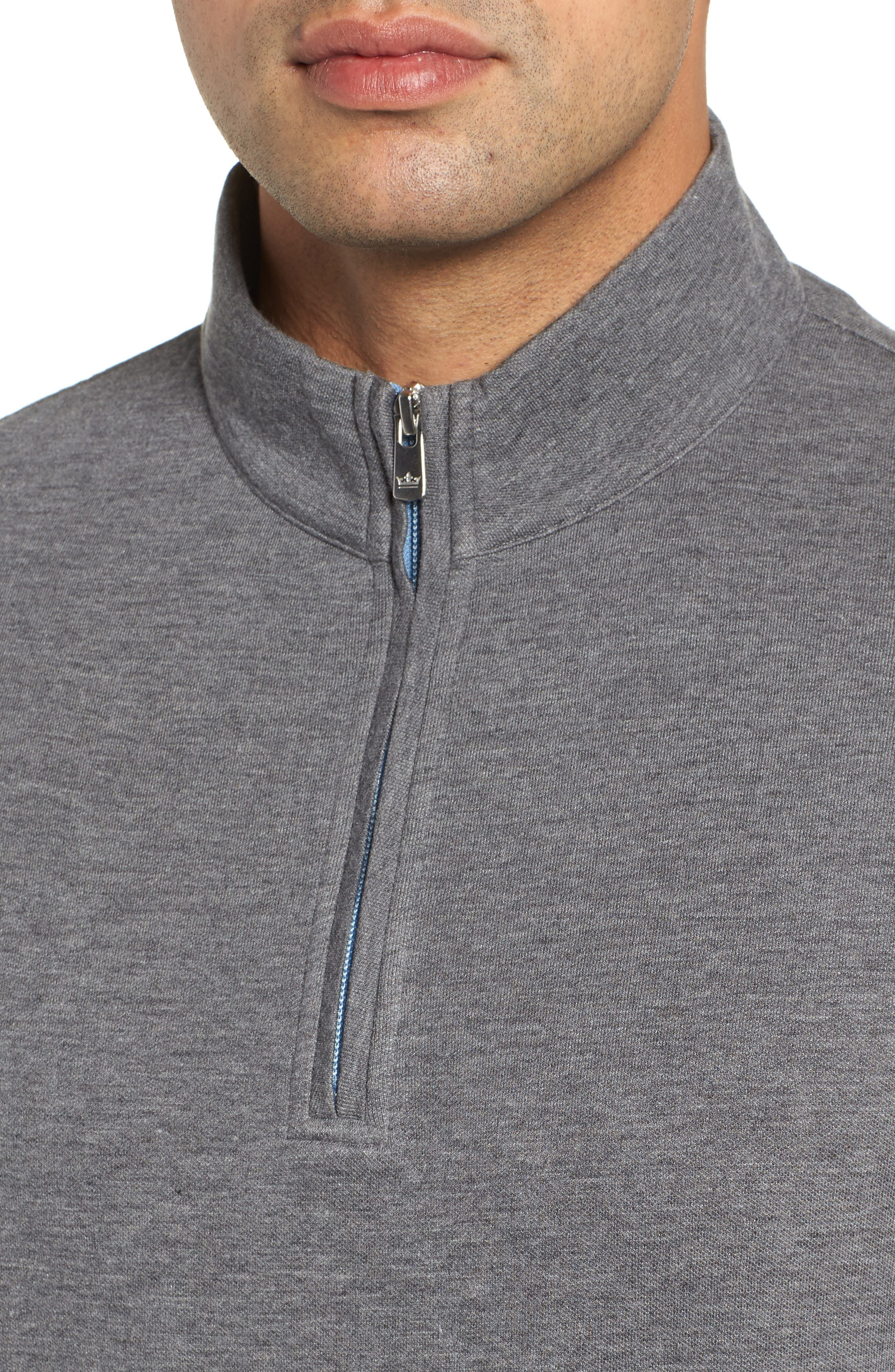 Crown Comfort Jersey Quarter Zip Pullover,                             Alternate thumbnail 4, color,                             CHARCOAL