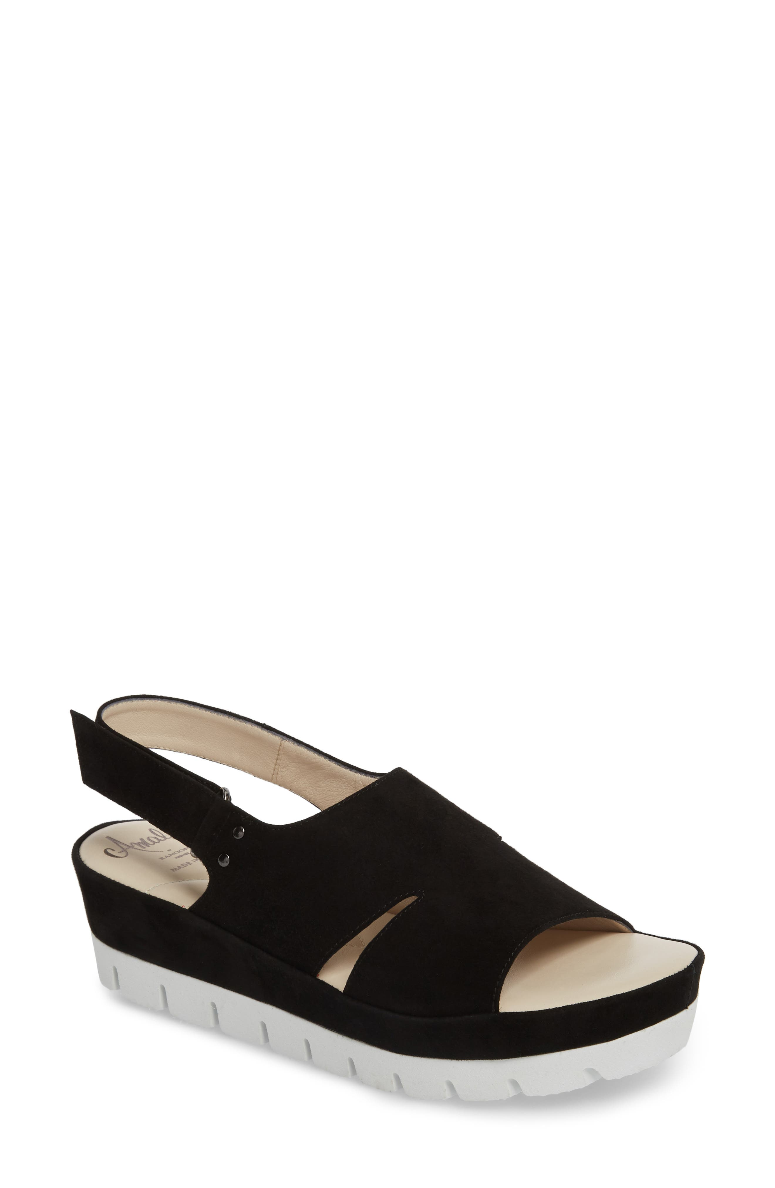 Bergamotto Slingback Wedge Sandal,                         Main,                         color, BLACK SUEDE