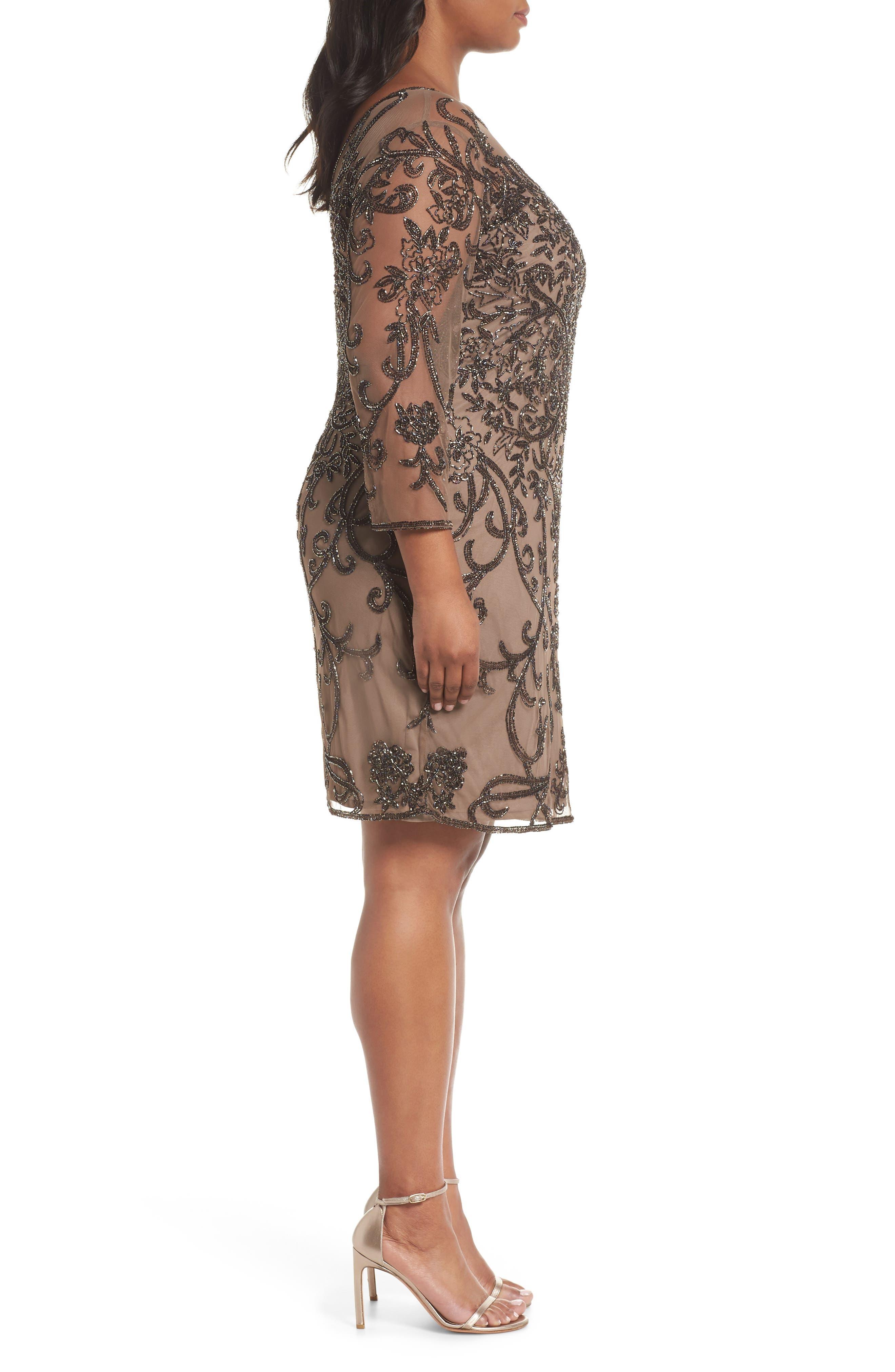 Illusion Sleeve Beaded Sheath Dress,                             Alternate thumbnail 3, color,                             BROWN/ GOLD