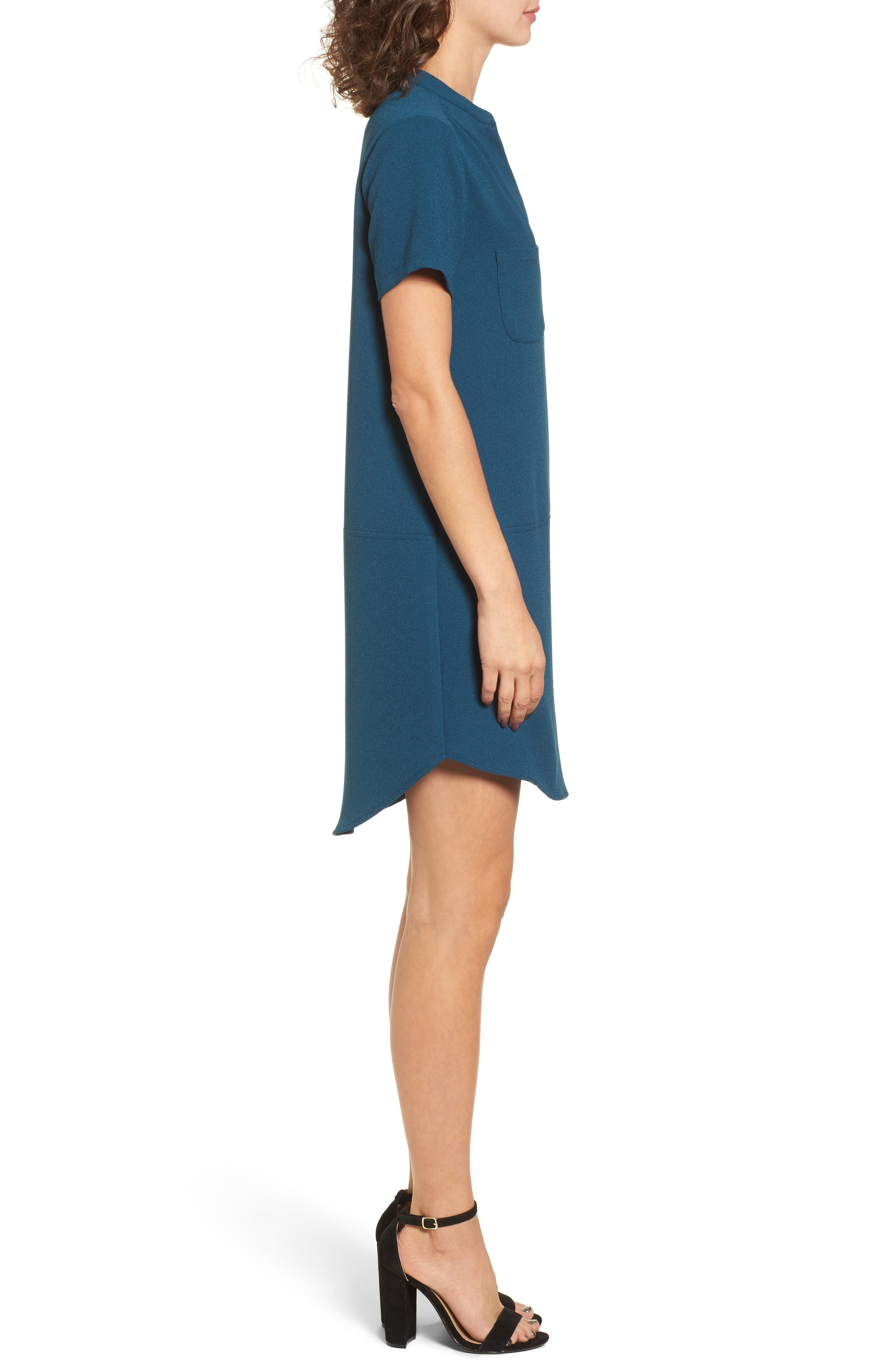 Hailey Crepe Dress,                             Alternate thumbnail 3, color,                             BLUE CERAMIC