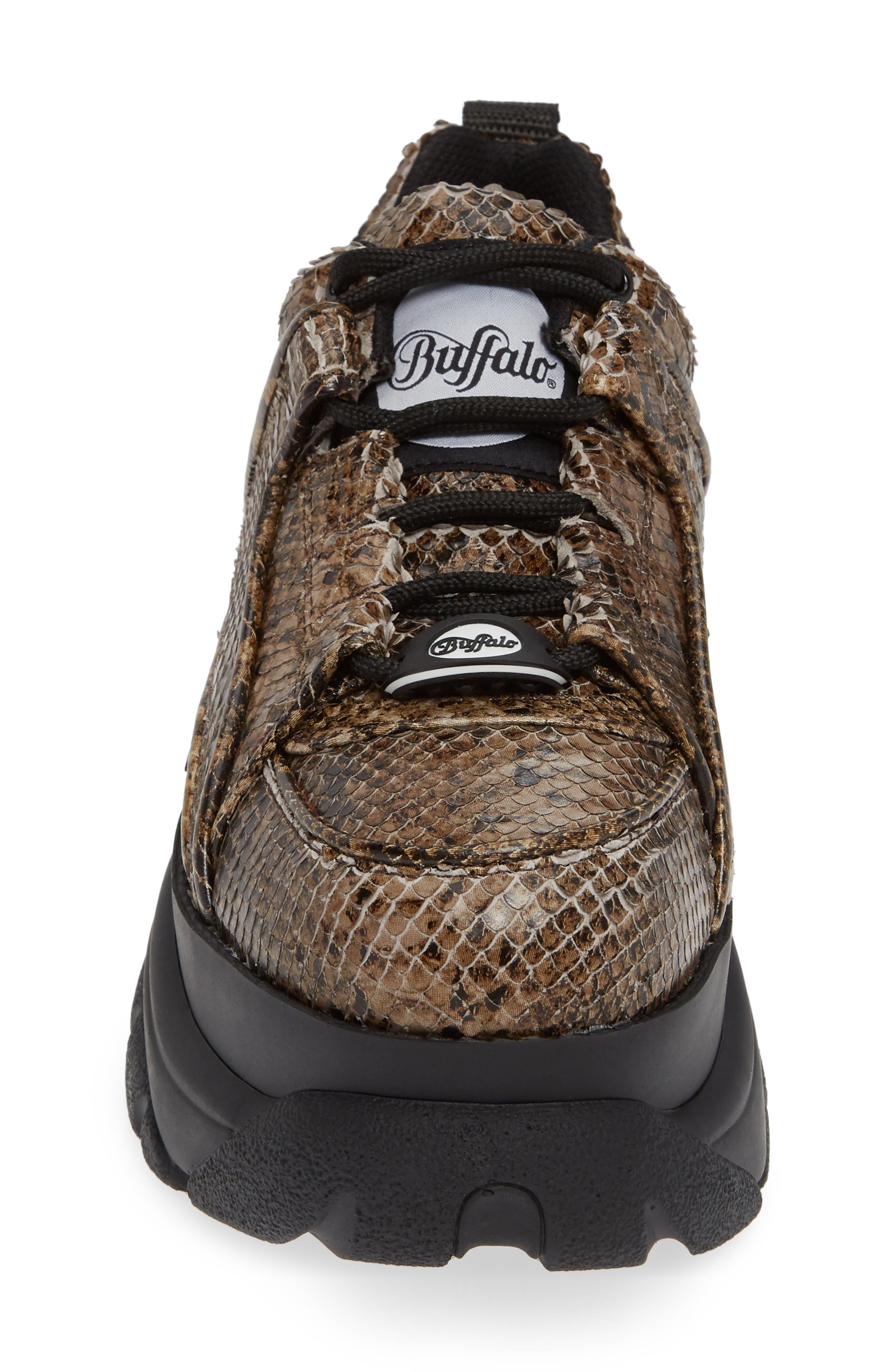 x Buffalo London Python Print Platform Sneaker,                             Alternate thumbnail 4, color,                             BEIGE