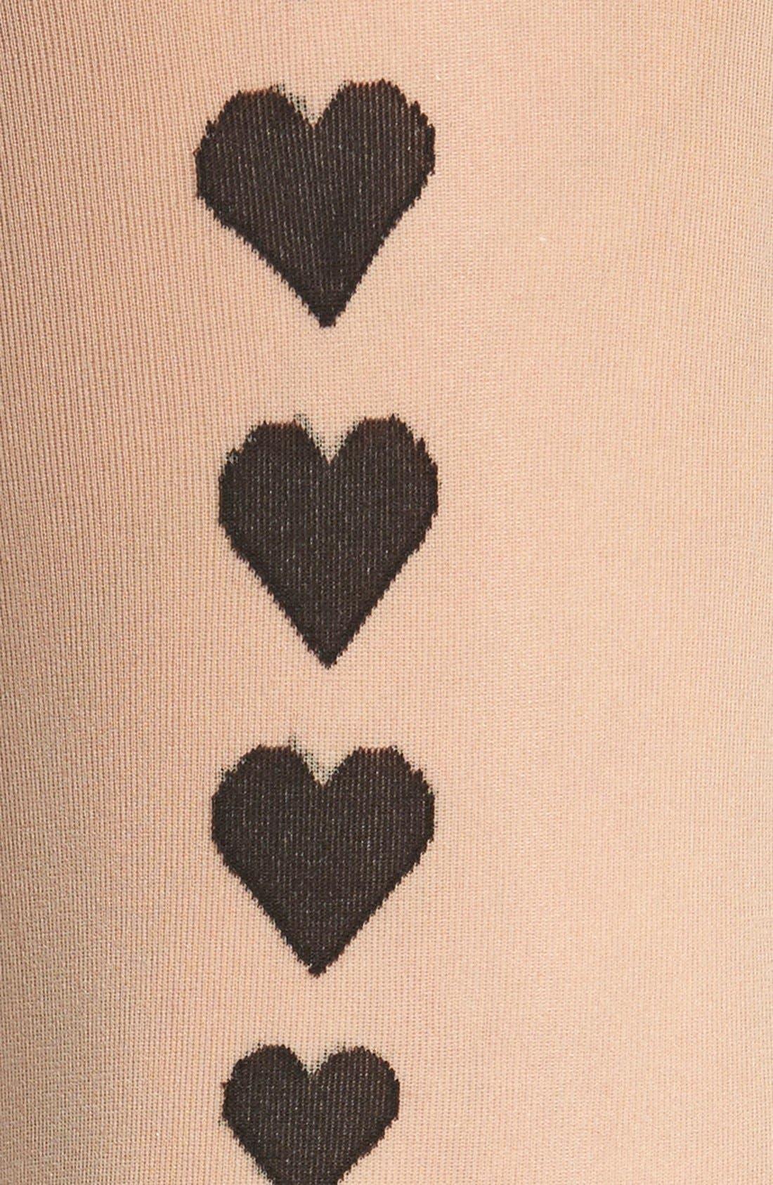Heart Detail Back Seam Tights,                             Alternate thumbnail 2, color,                             009