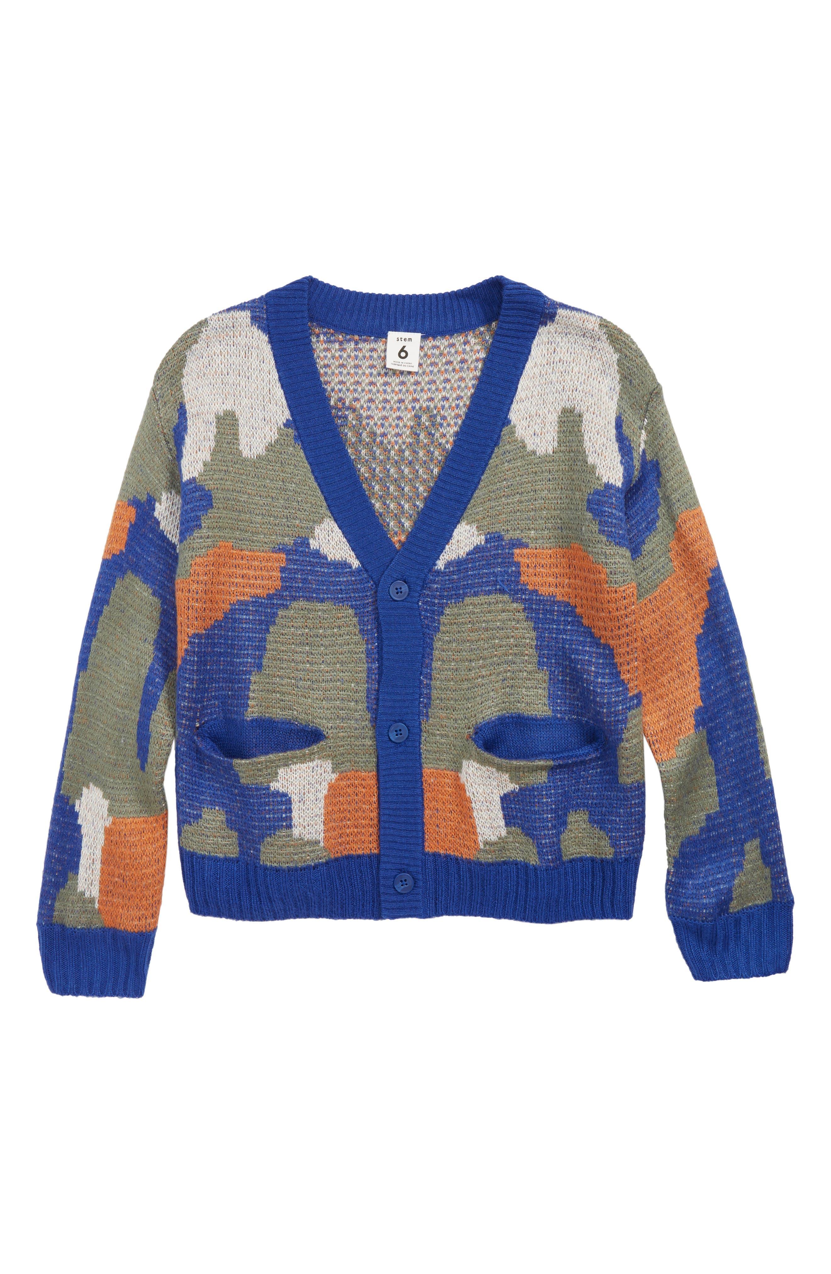 Abstract Cardigan,                         Main,                         color, BLUE MAZARINE CAMO