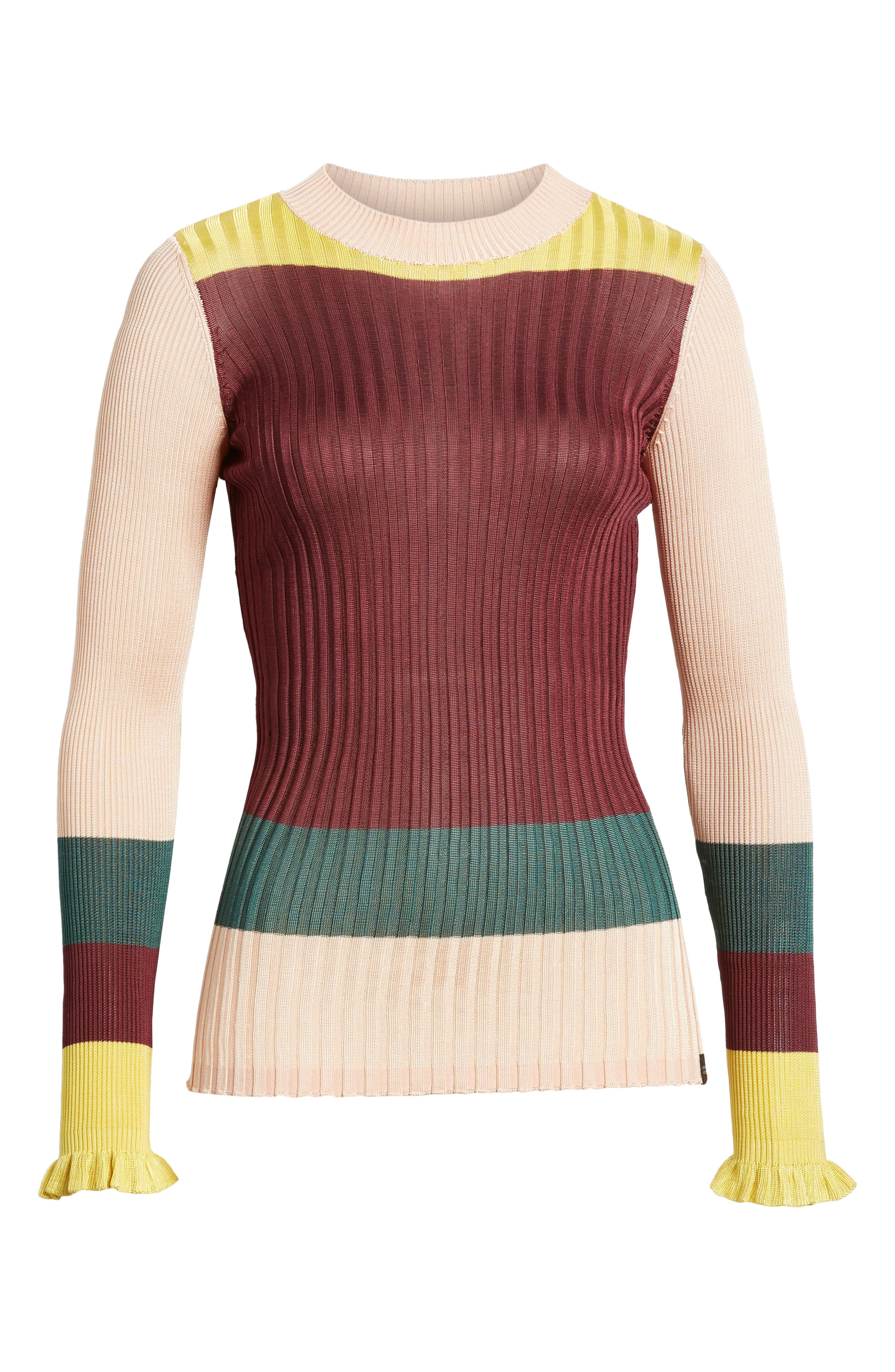 Colorblock Ribbed Sweater,                             Alternate thumbnail 6, color,                             BURGUNDY NUDE YELLOW