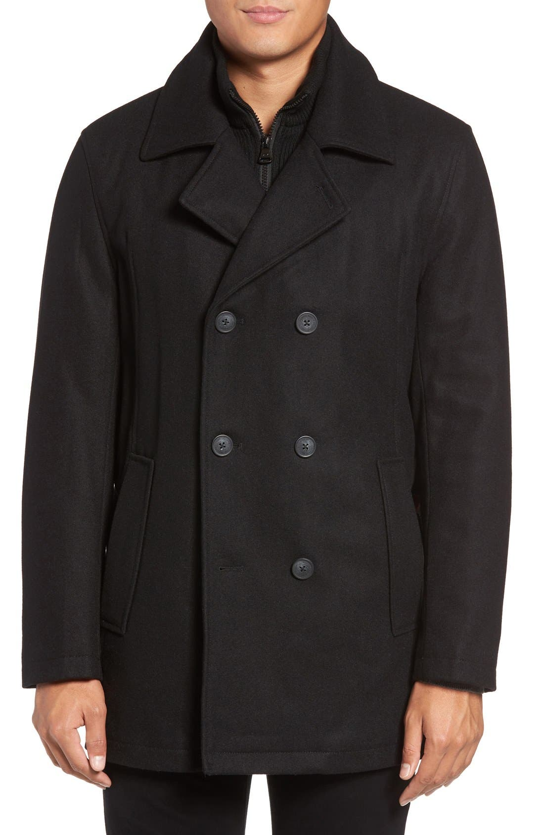 by Andrew Marc Cheshire Peacoat with Bib,                             Main thumbnail 1, color,                             001