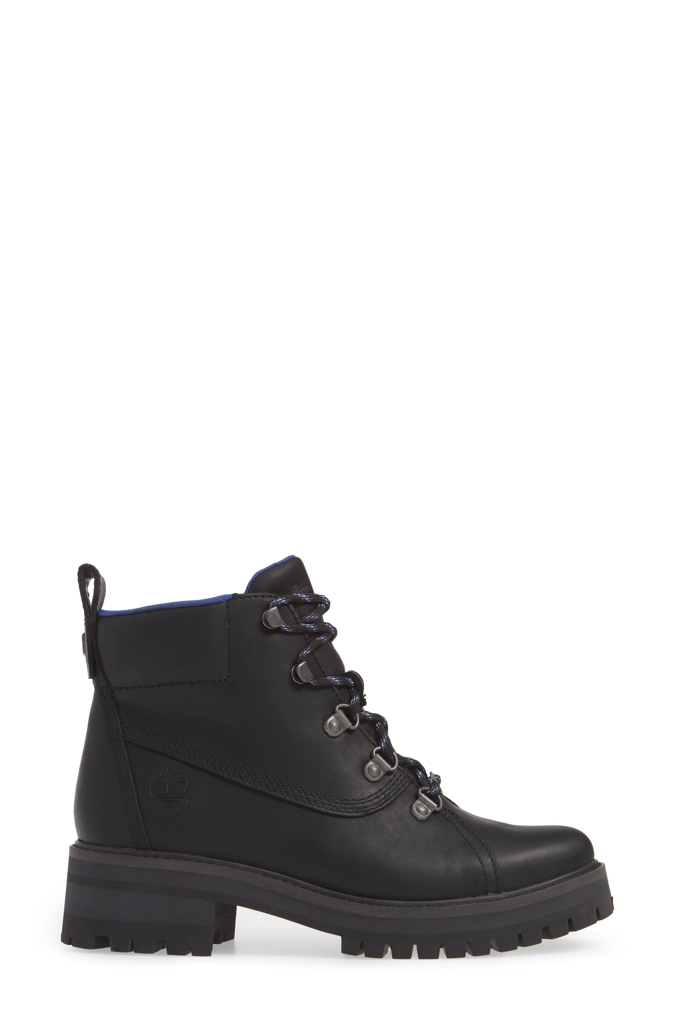 TIMBERLAND,                             Courmayeur Valley Waterproof Hiking Boot,                             Alternate thumbnail 3, color,                             BLACK NUBUCK BLACK OUT LEATHER