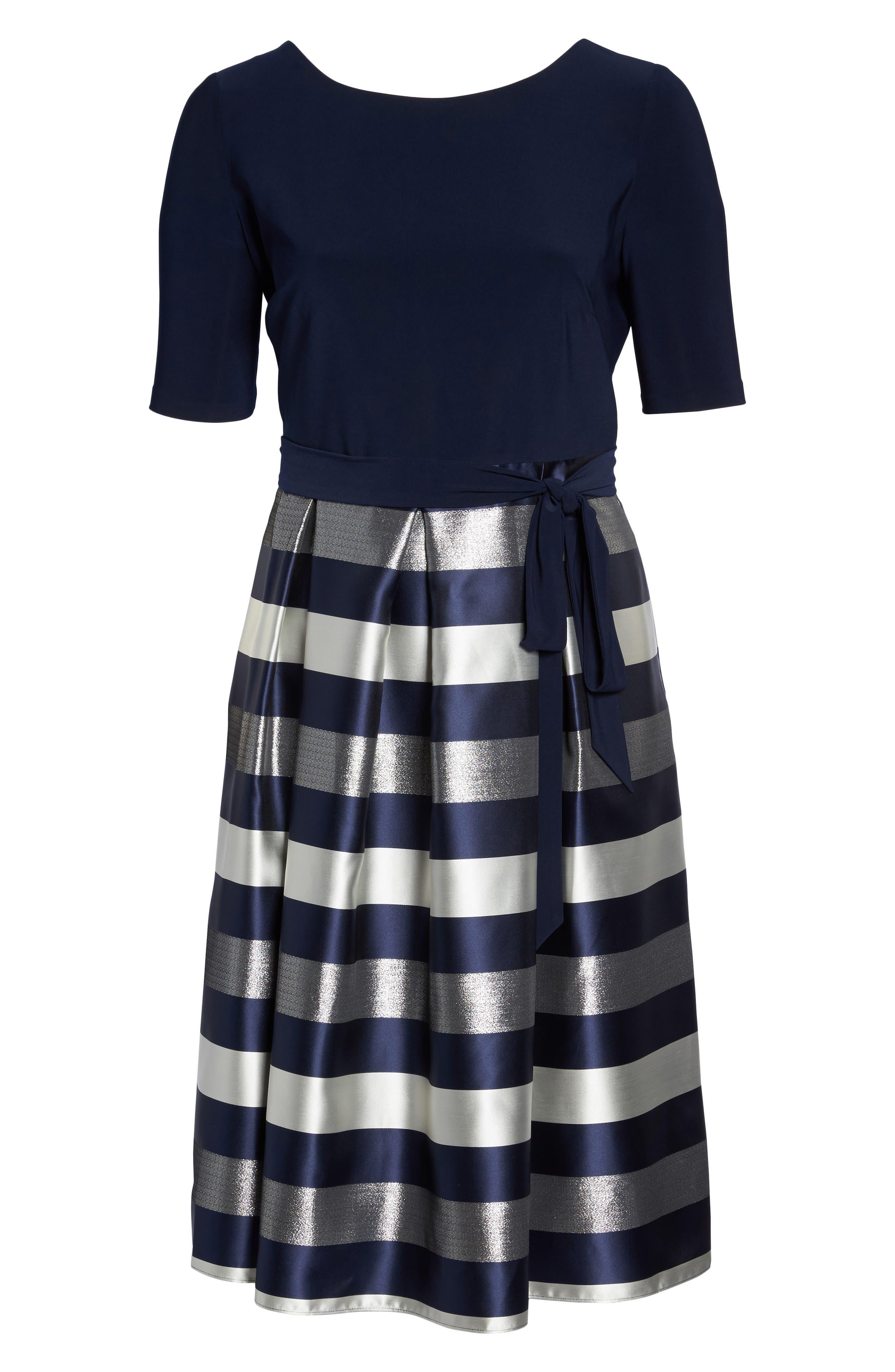 Mixed Media Fit & Flare Dress,                             Alternate thumbnail 6, color,                             473