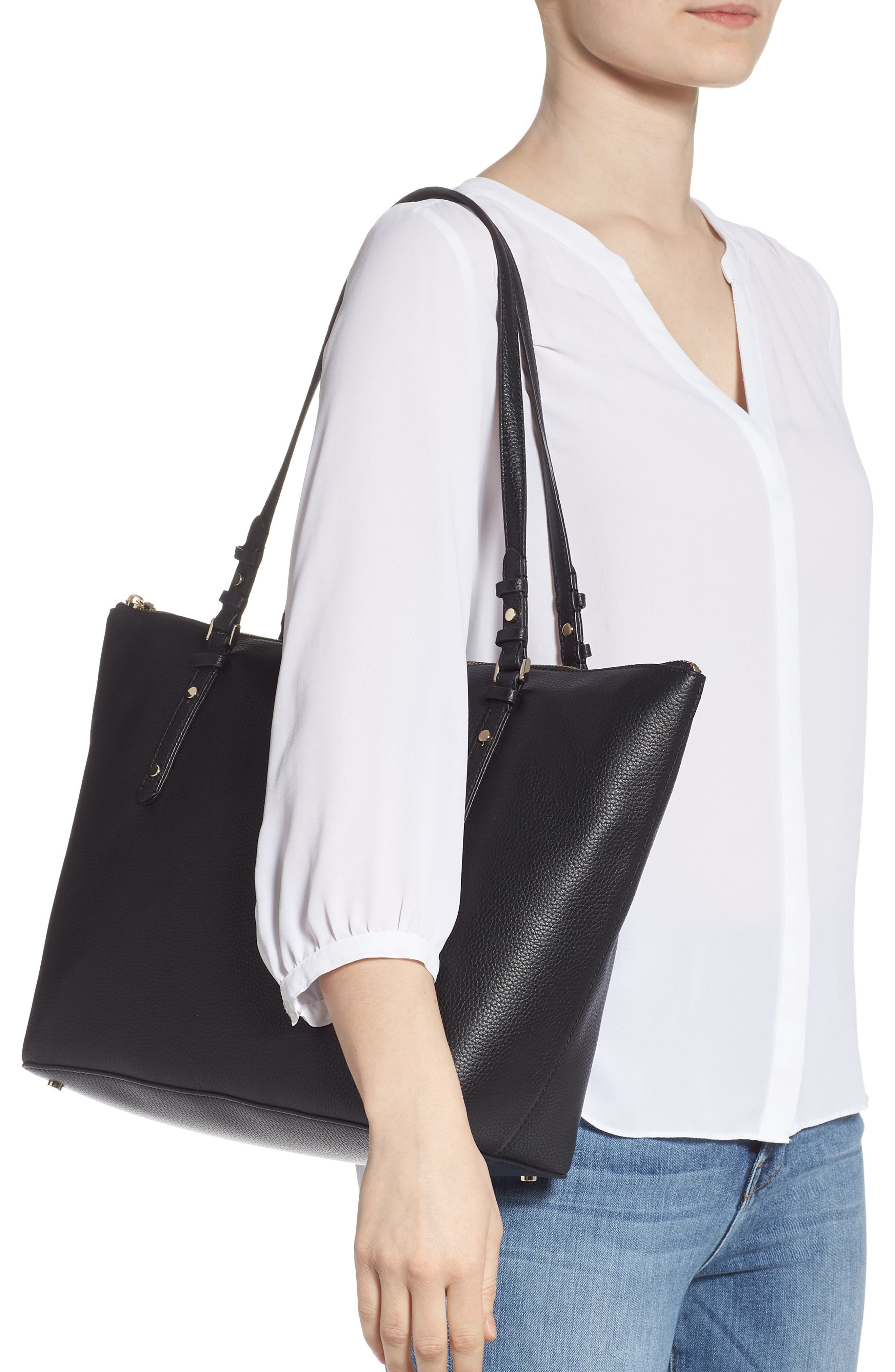 KATE SPADE NEW YORK,                             large polly leather tote,                             Alternate thumbnail 2, color,                             BLACK