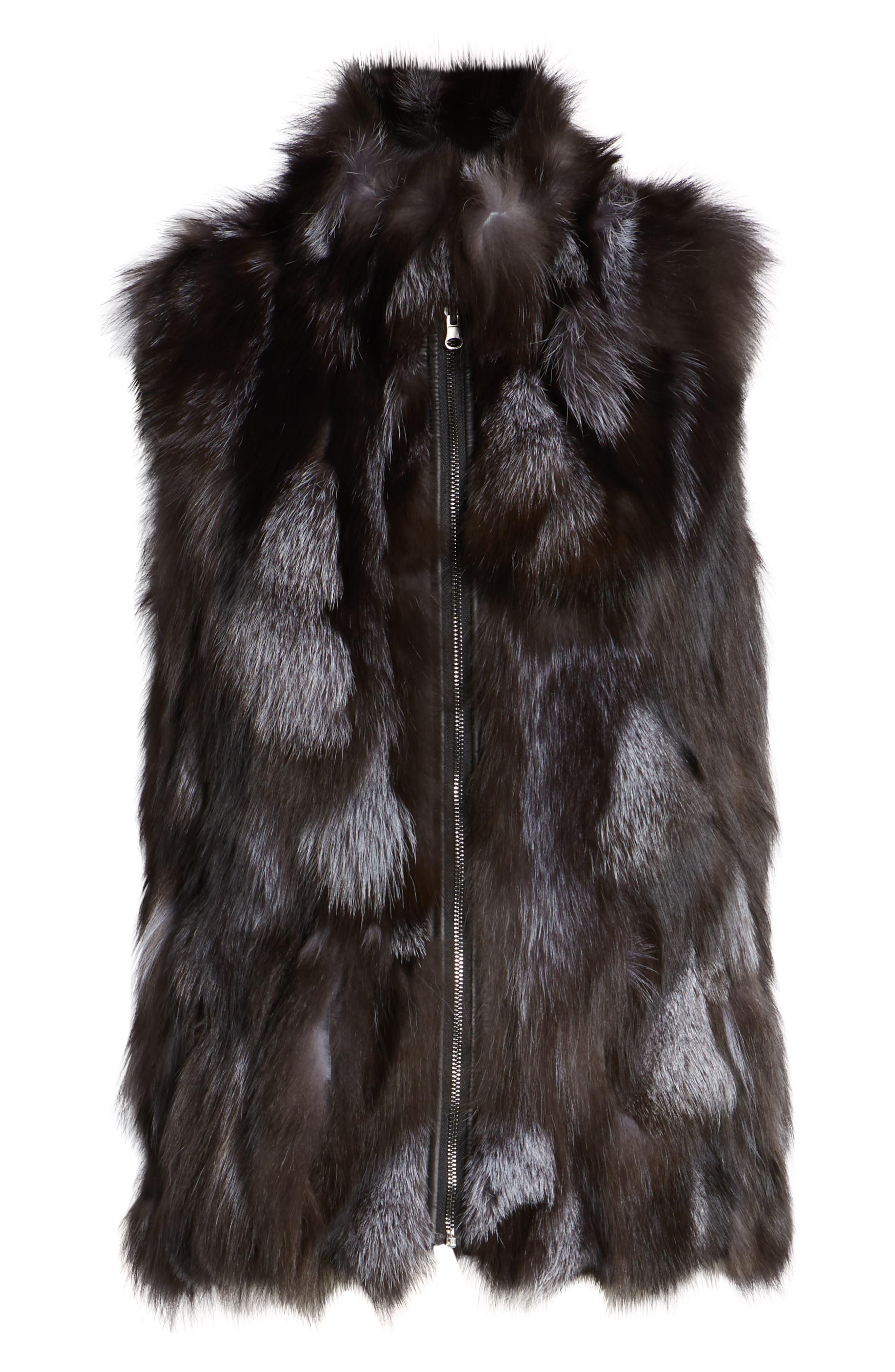 LINDA RICHARDS,                             Reversible Genuine Silver Fox Fur Vest,                             Alternate thumbnail 7, color,                             BLACK/ SILVER