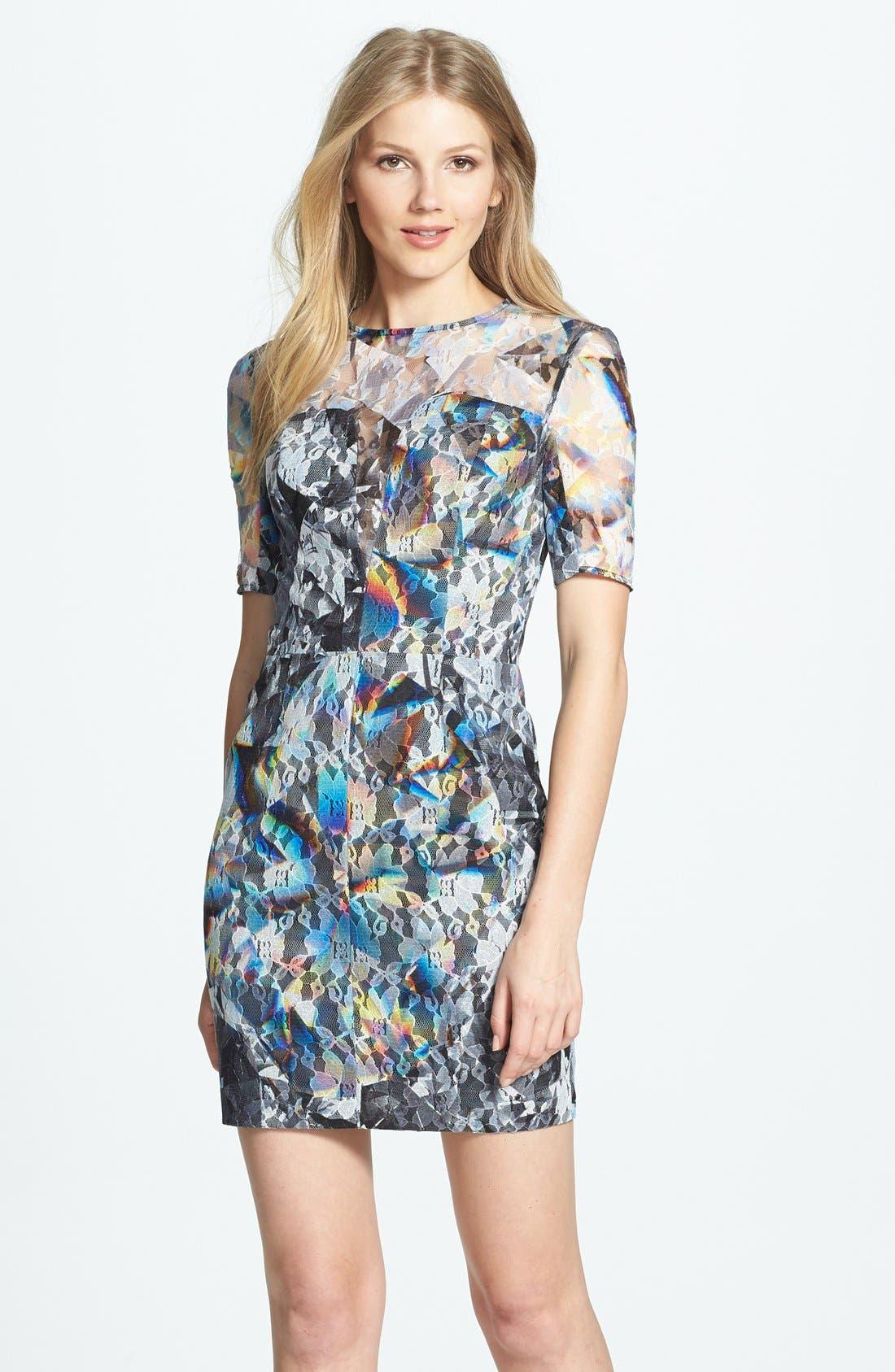 BLACK HALO Print Lace Minidress, Main, color, 001