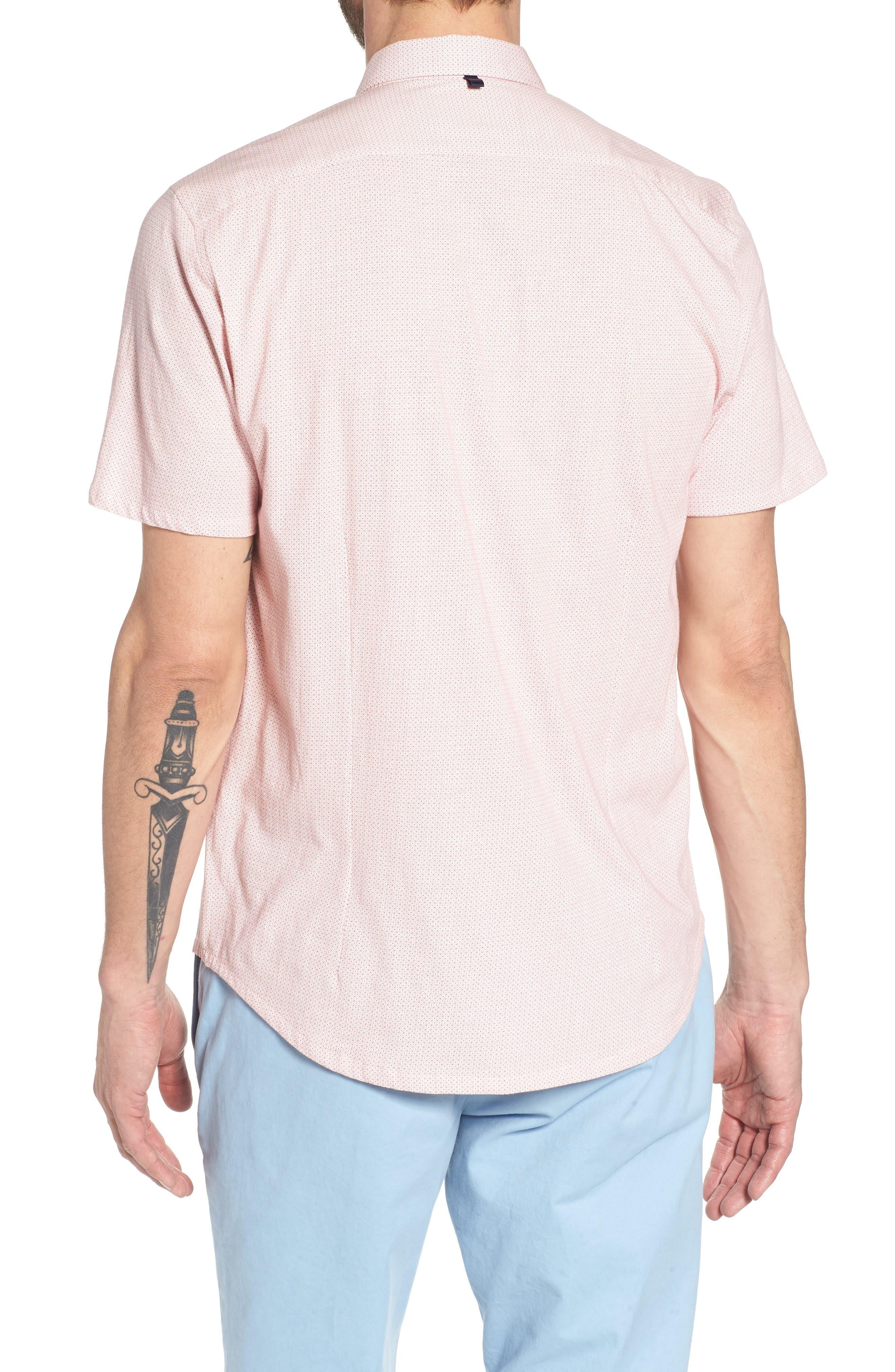 Square Slim Fit Dot Sport Shirt,                             Alternate thumbnail 2, color,                             PINK