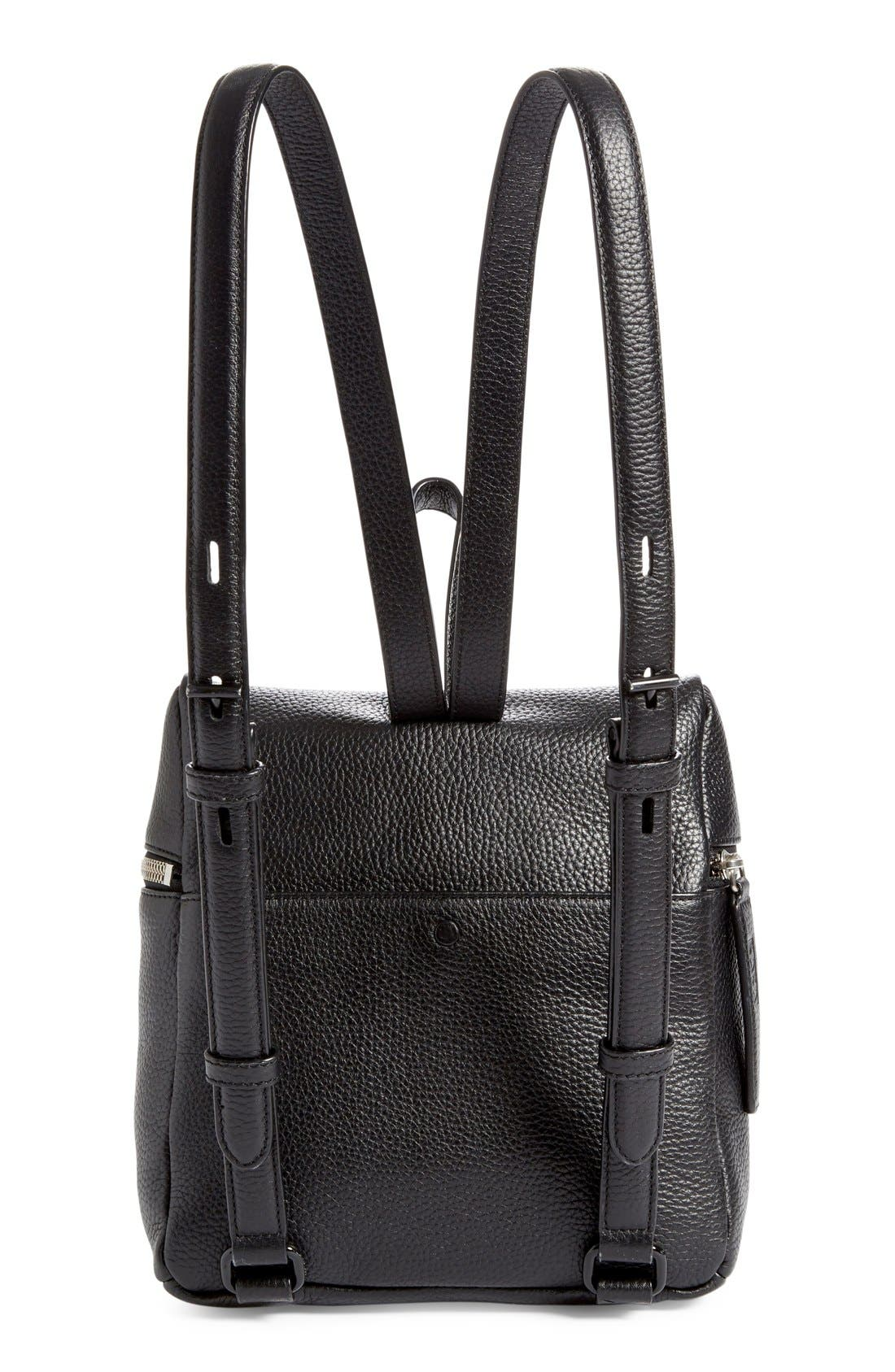 Small Pebbled Leather Backpack,                             Alternate thumbnail 7, color,                             BLACK