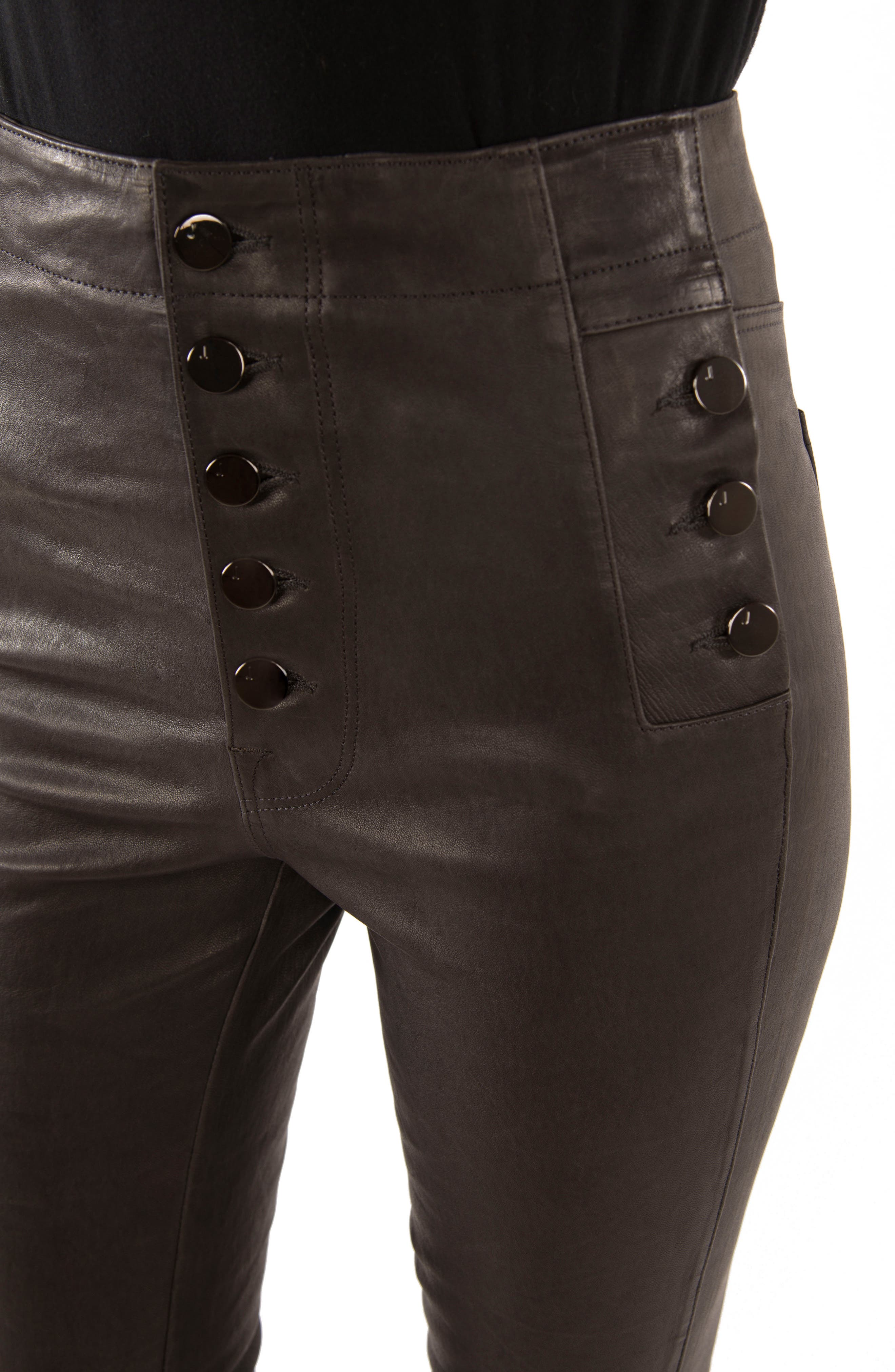 Natasha High Waist Skinny Leather Pants,                             Alternate thumbnail 4, color,                             039