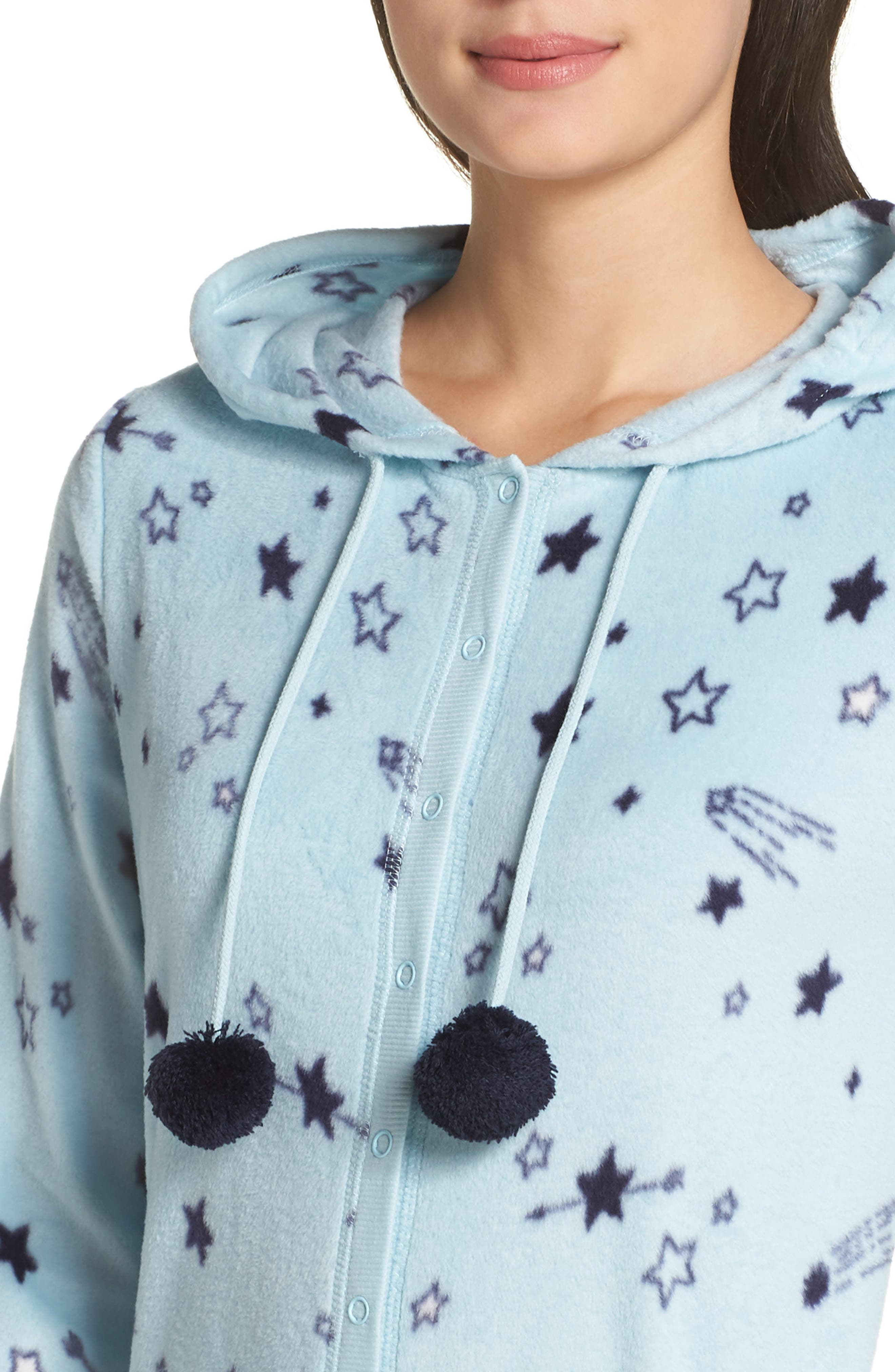 Hooded Pajama Jumpsuit,                             Alternate thumbnail 4, color,                             BLUE OMPHALODES SHOOT 4 STARS