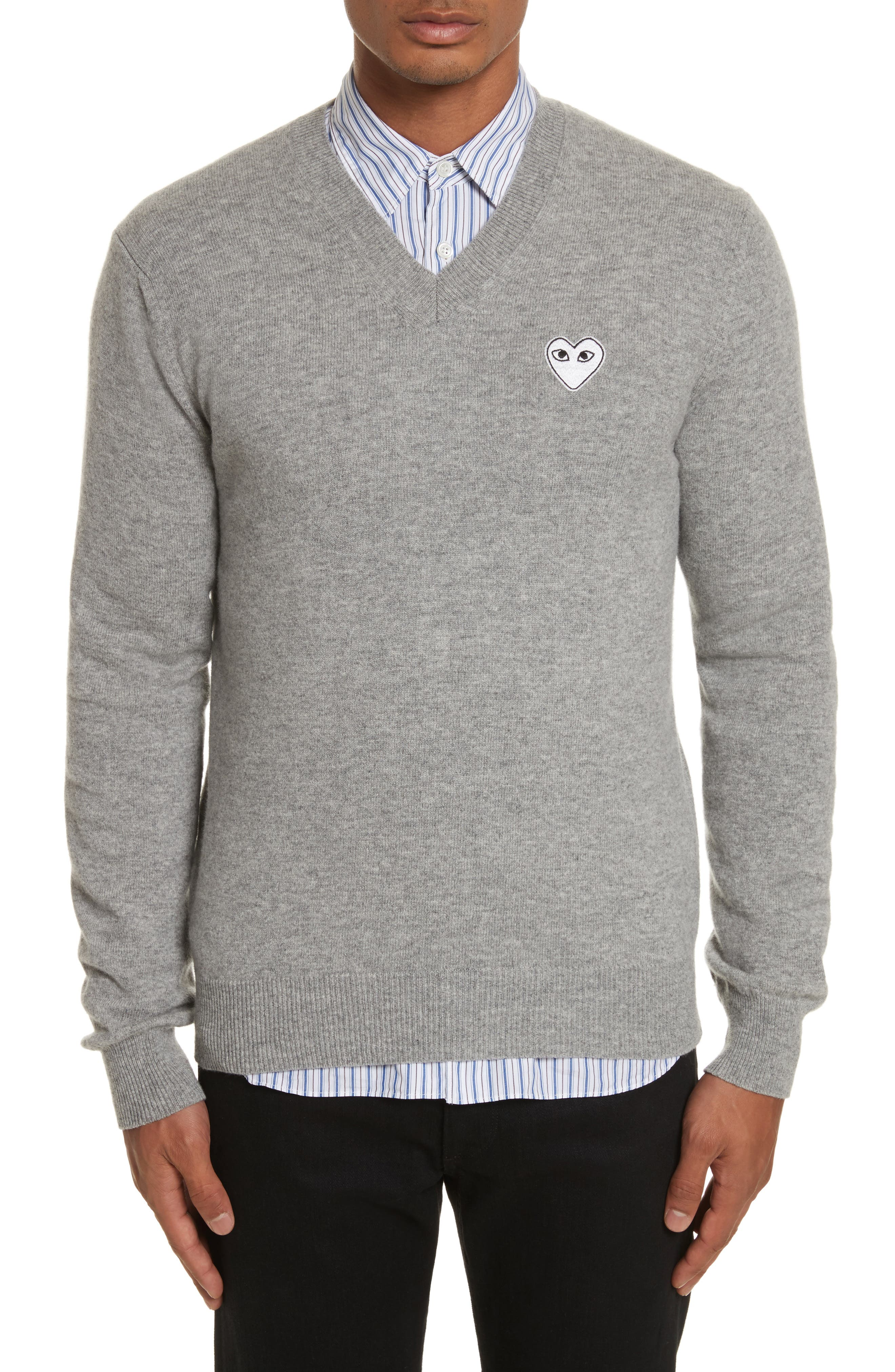 White Heart Wool V-Neck Sweater,                             Main thumbnail 1, color,                             LIGHT GREY