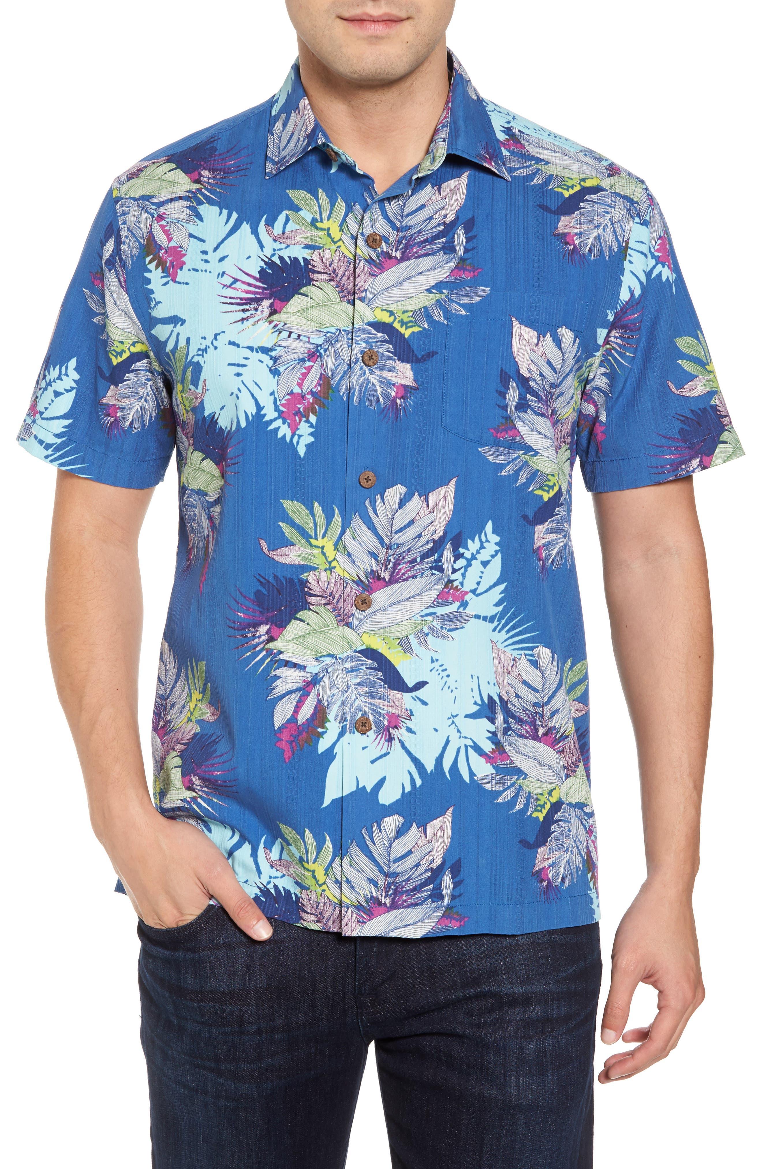 Fronds Bouquet Classic Fit Silk Blend Sport Shirt,                         Main,                         color, 400
