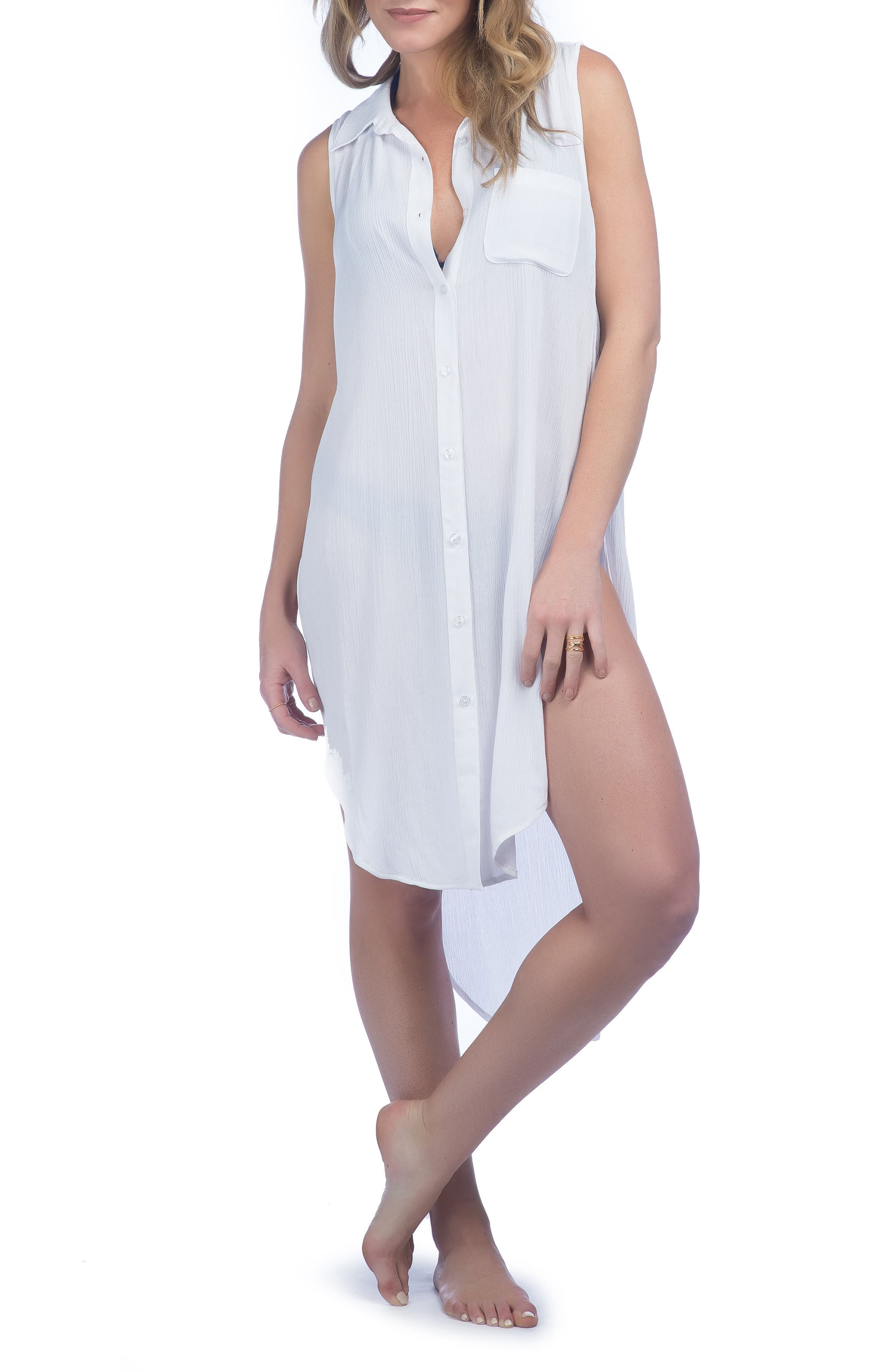 Crinkle Cover-Up Shirtdress,                         Main,                         color,