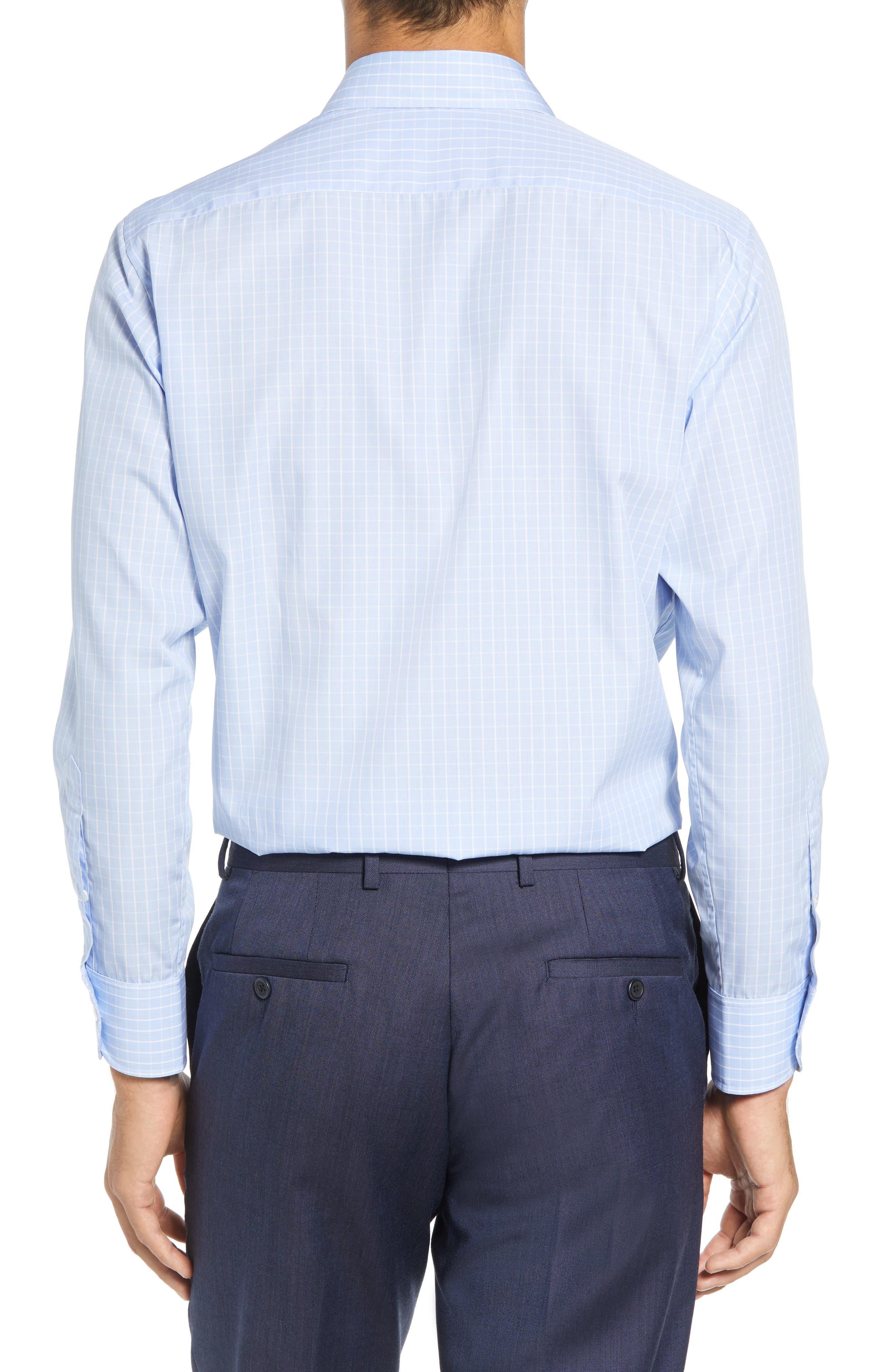 McBride Trim Fit Check Dress Shirt,                             Alternate thumbnail 3, color,                             BLUE