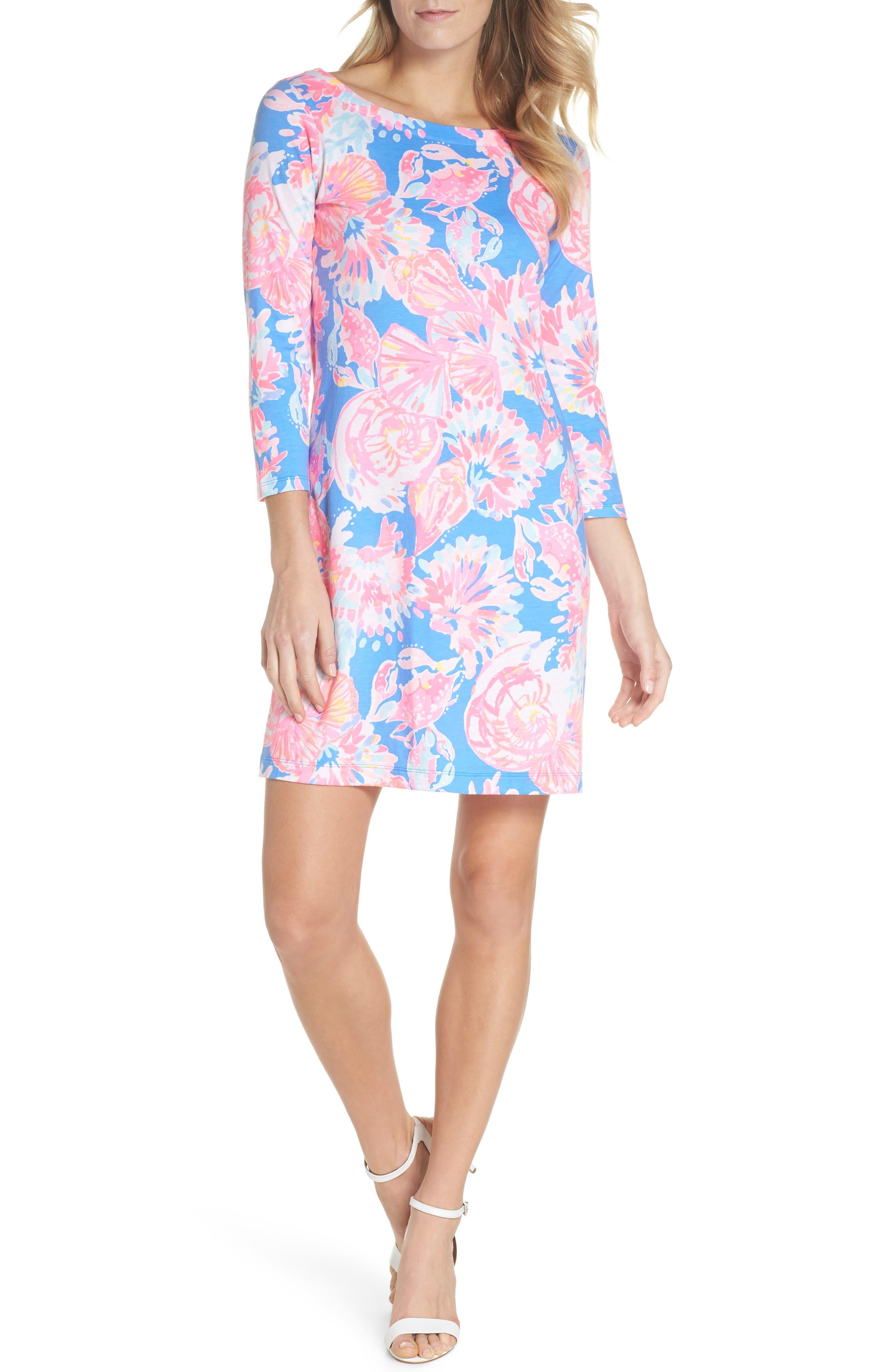 Noelle Floral Shift Dress,                             Alternate thumbnail 5, color,                             650