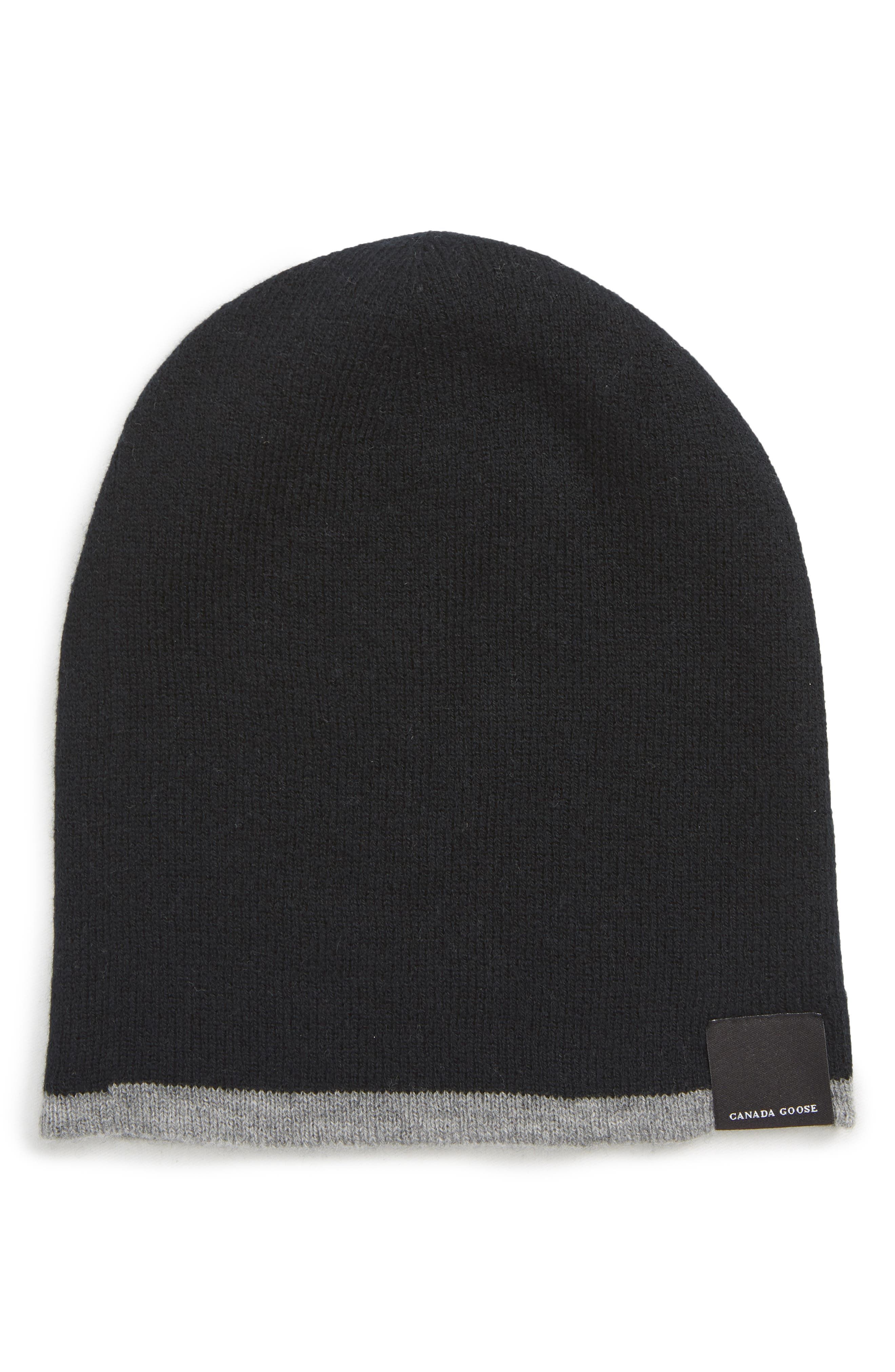 Men'S Reversible Wool Toque Beanie Hat in Black