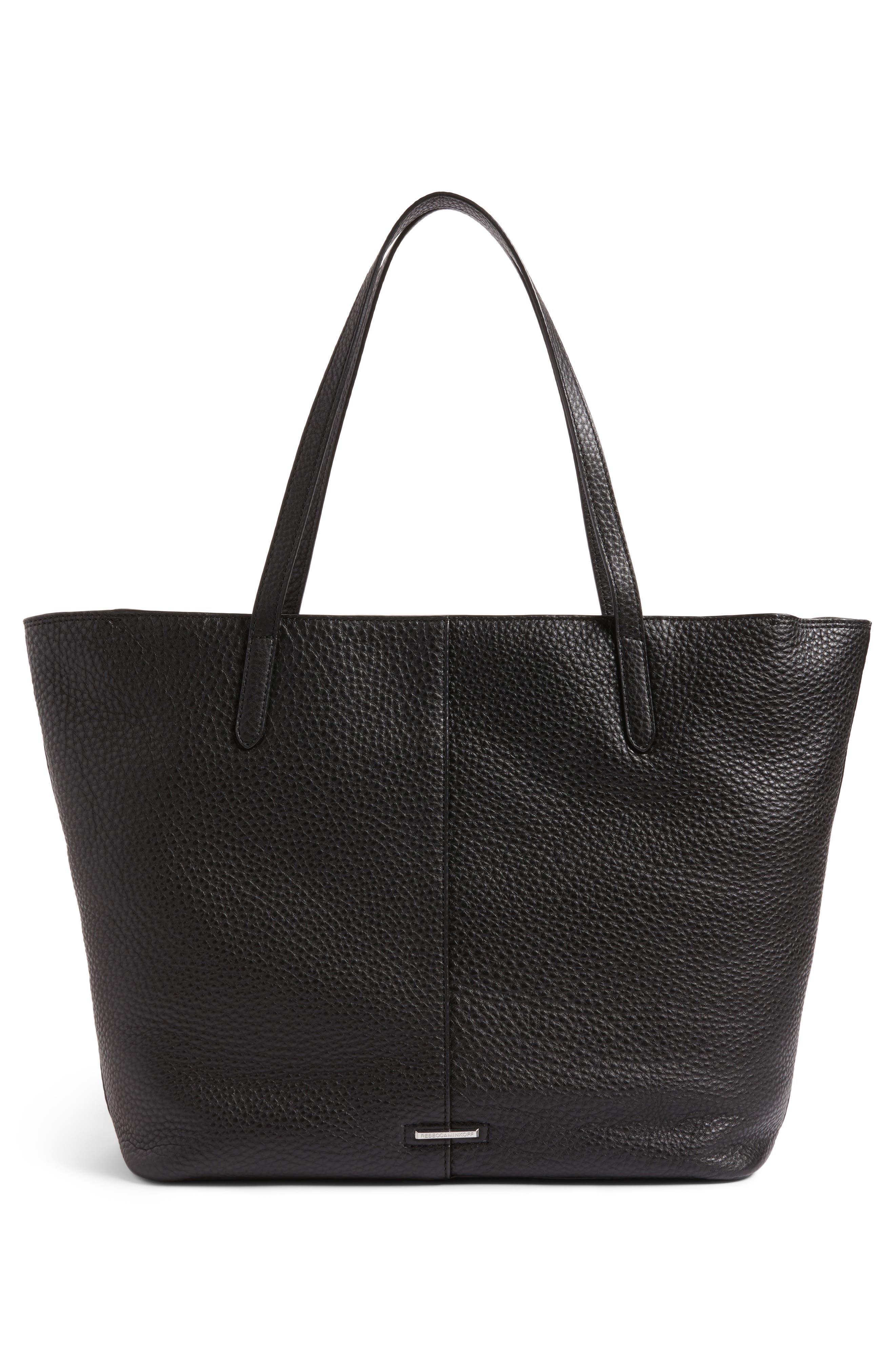Unlined Front Pocket Leather Tote,                             Alternate thumbnail 3, color,                             001