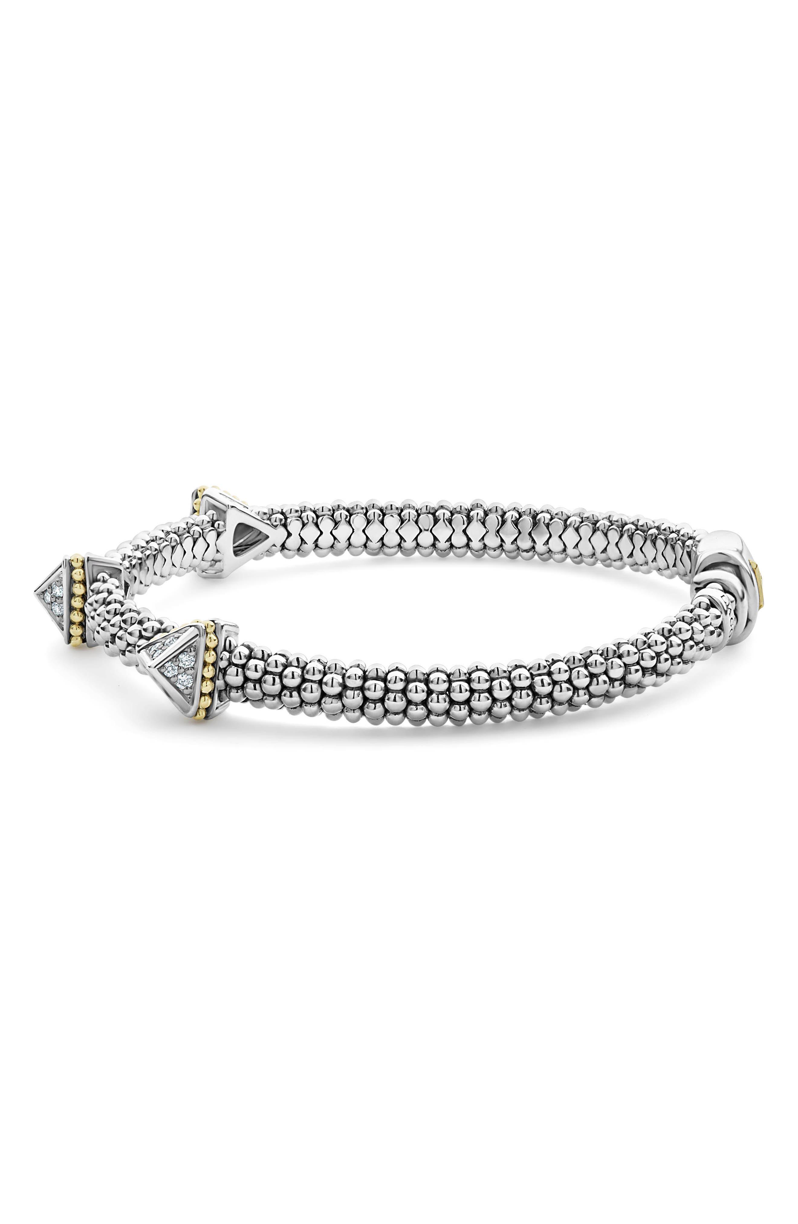KSL Lux Diamond Pyramid Bracelet,                             Alternate thumbnail 4, color,                             SILVER/ DIAMOND