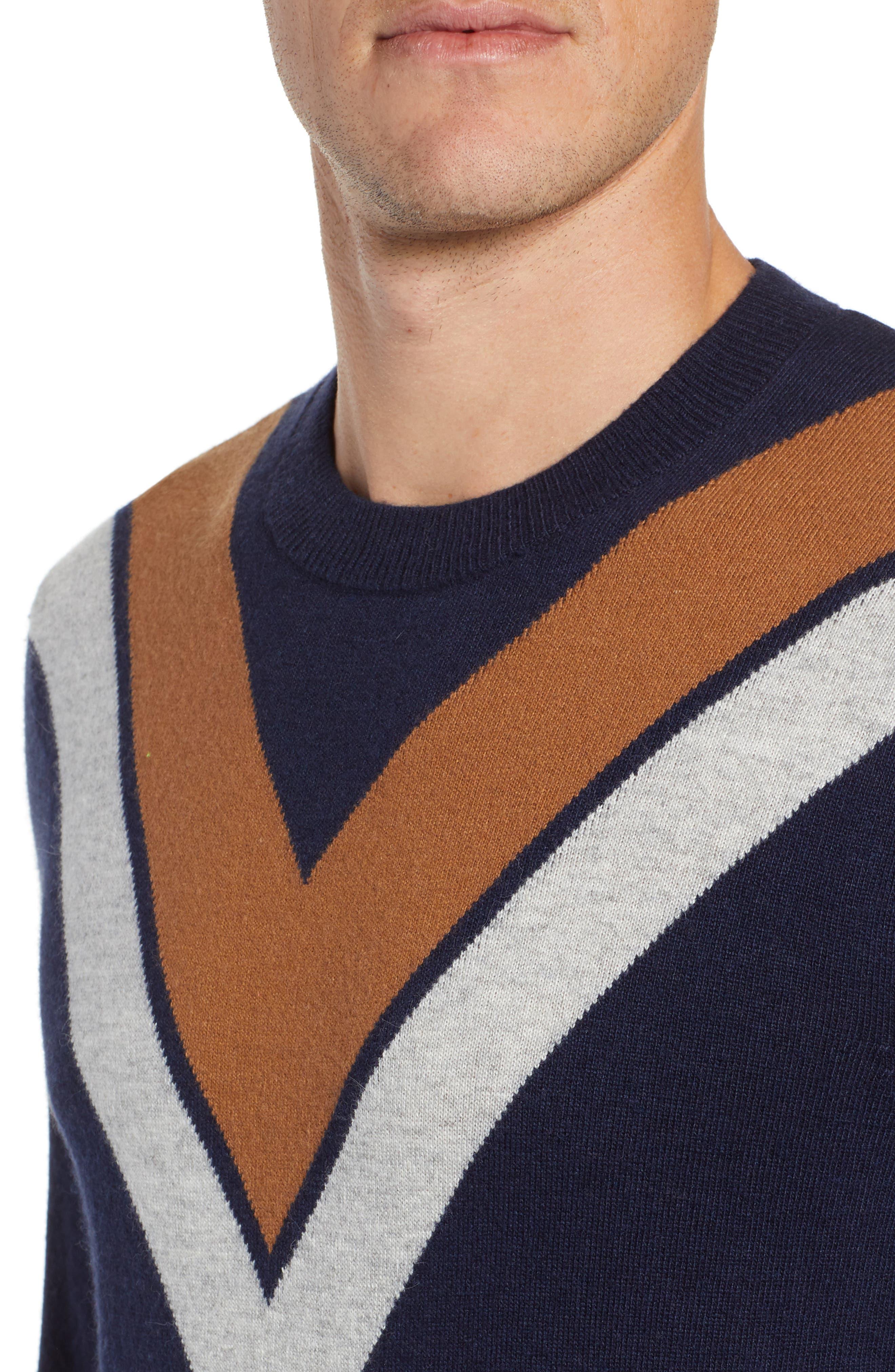 Minton V Crewneck Sweater,                             Alternate thumbnail 4, color,                             DARK NAVY/ LHN/ BURNT SUGAR