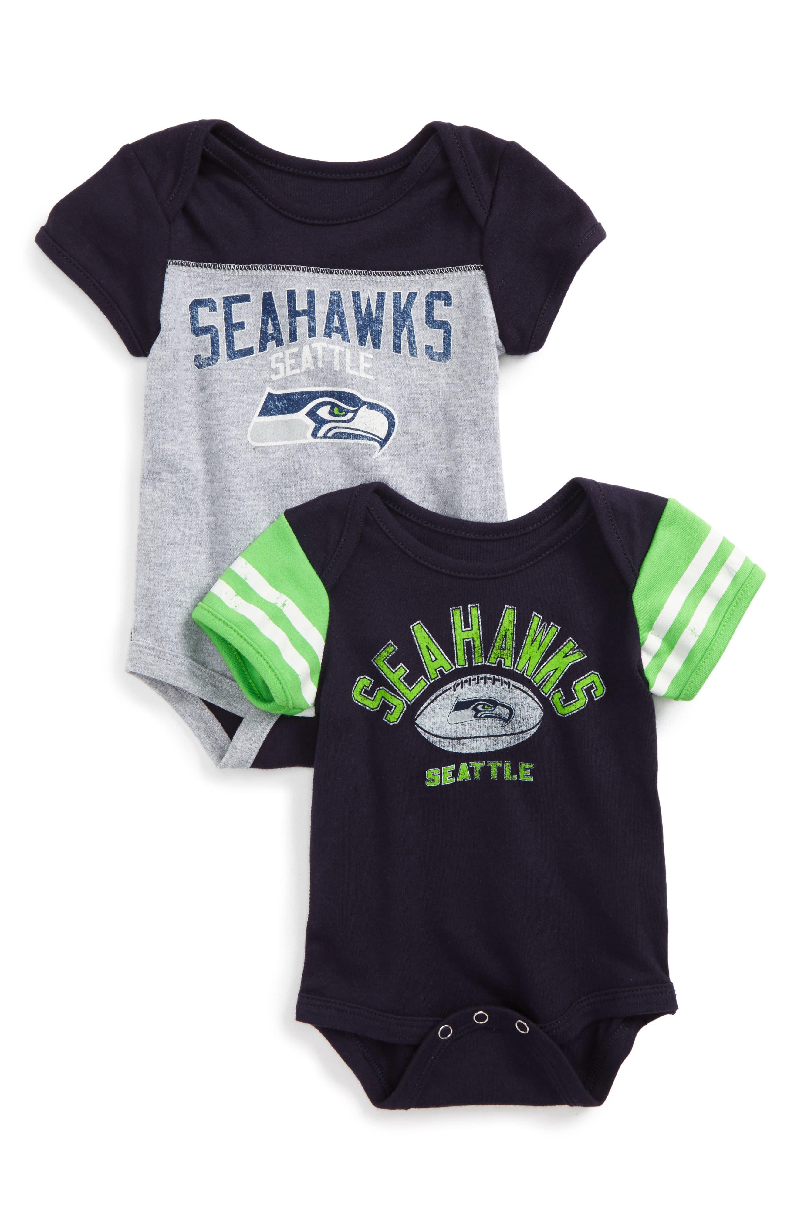 NFL Logo Seattle Seahawks 2-Pack Bodysuits,                             Main thumbnail 1, color,                             400