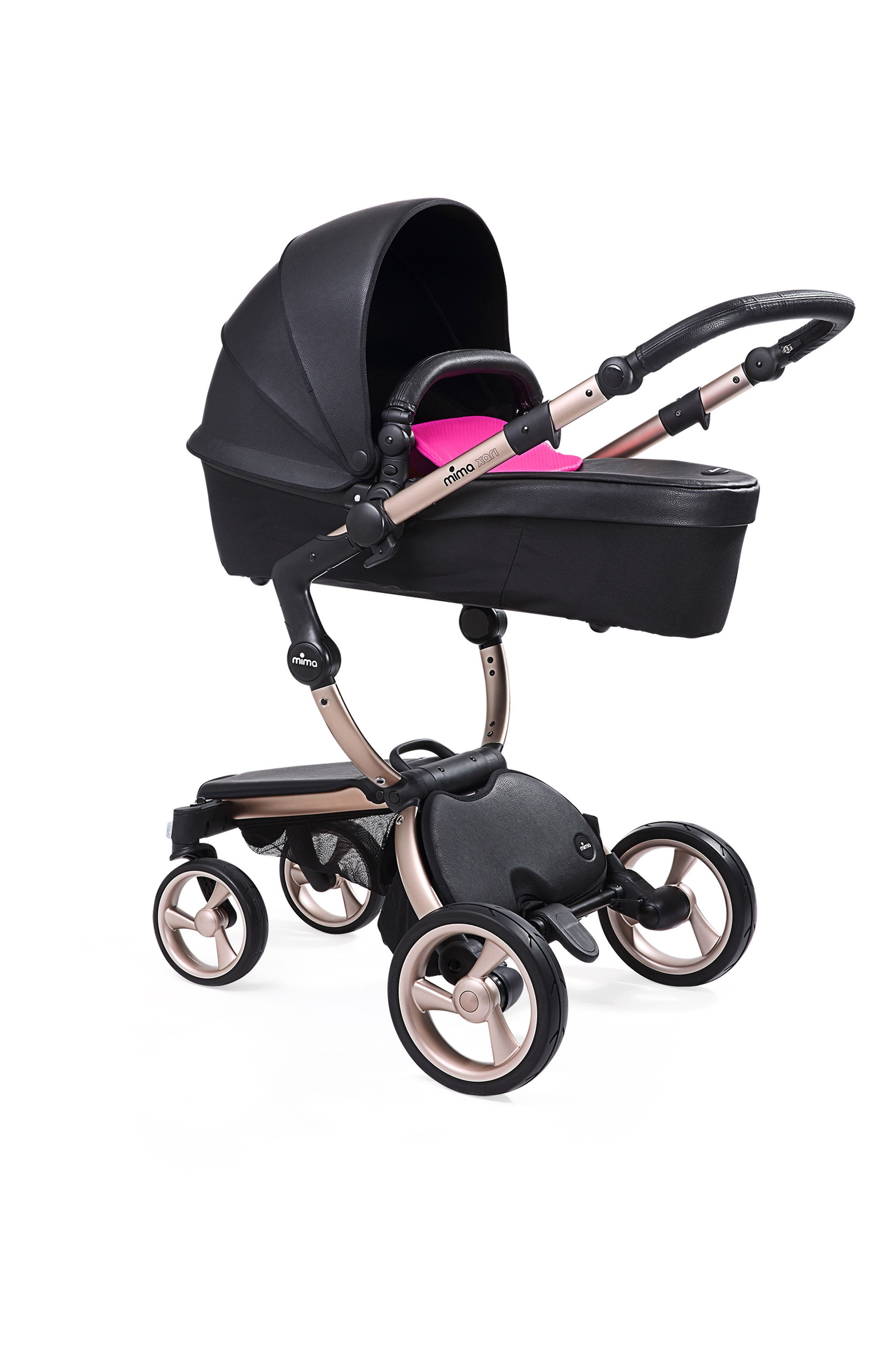 Xari Rose Gold Chassis Stroller with Reversible Reclining Seat & Carrycot,                             Alternate thumbnail 2, color,                             BLACK/ HOT MAGENTA