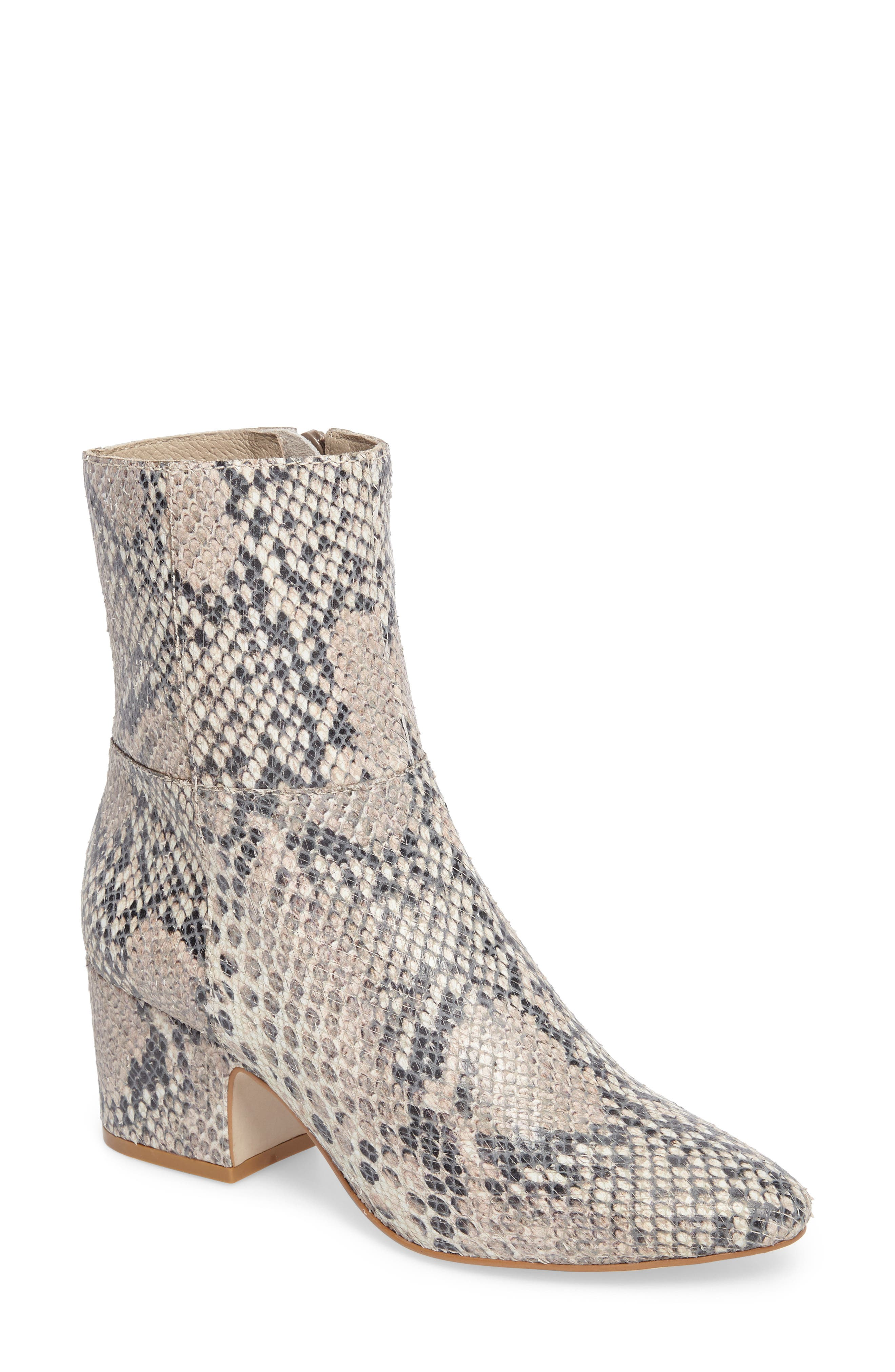 At Ease Genuine Calf Hair Bootie,                             Main thumbnail 1, color,                             NATURAL SNAKE LEATHER