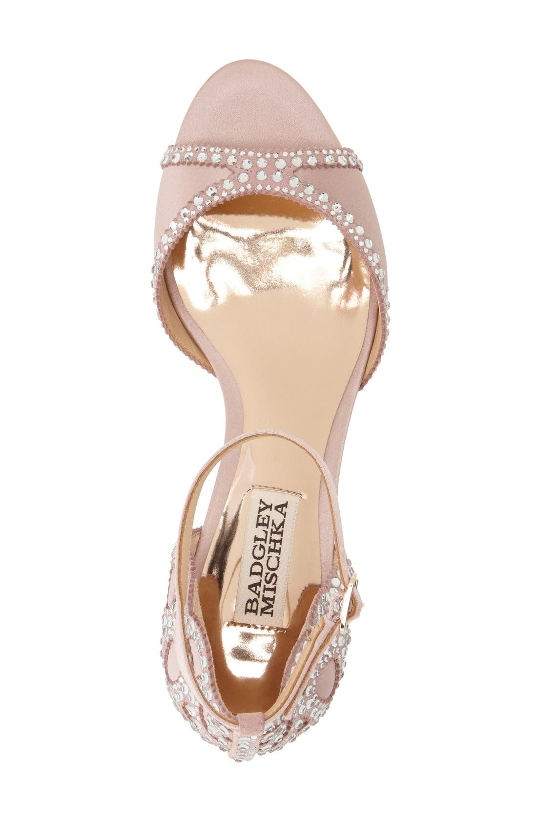 'Gillian' Crystal Embellished d'Orsay Sandal,                             Alternate thumbnail 2, color,                             BLUSH SATIN