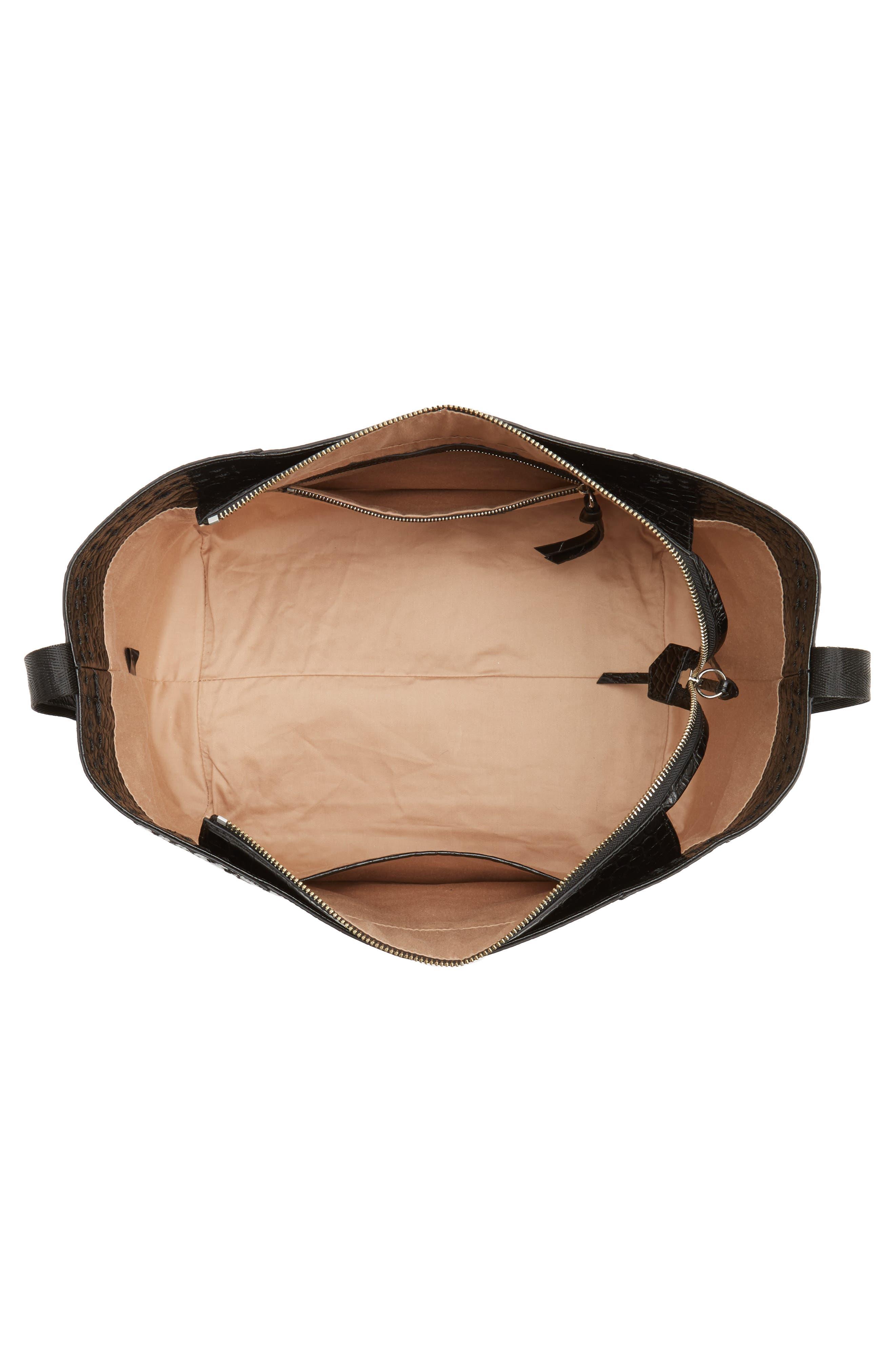 Mini Keely Newspaper Croc Embossed Leather Shoulder/Crossbody Bag,                             Alternate thumbnail 4, color,                             001