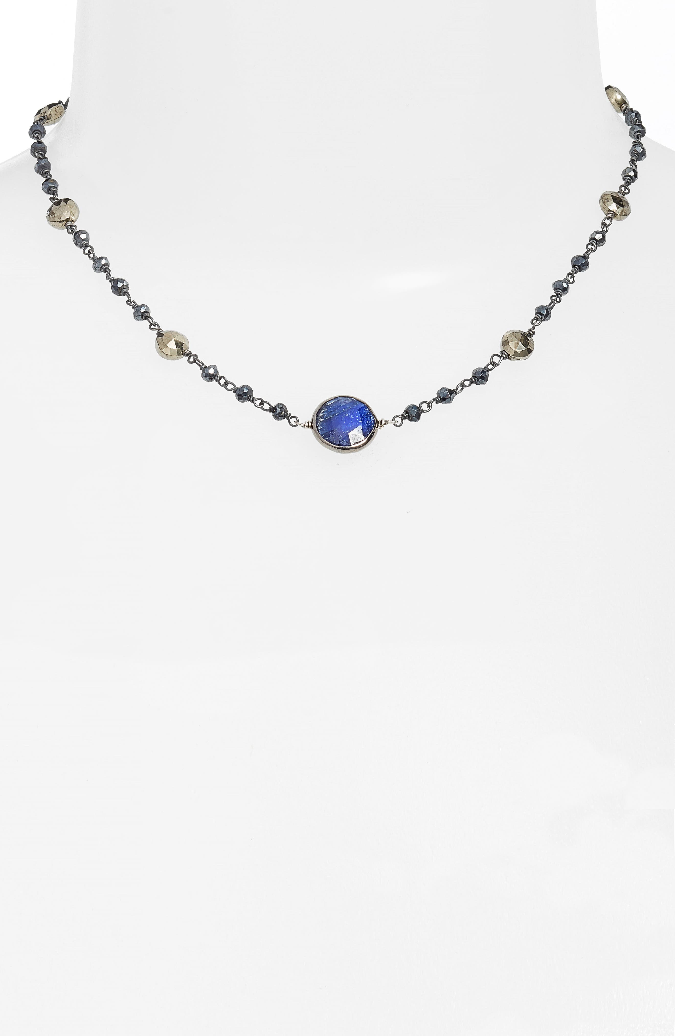 Semiprecious Stone Collar Necklace,                             Alternate thumbnail 2, color,                             MYSTIC BLACK SPINEL/ SAPPHIRE