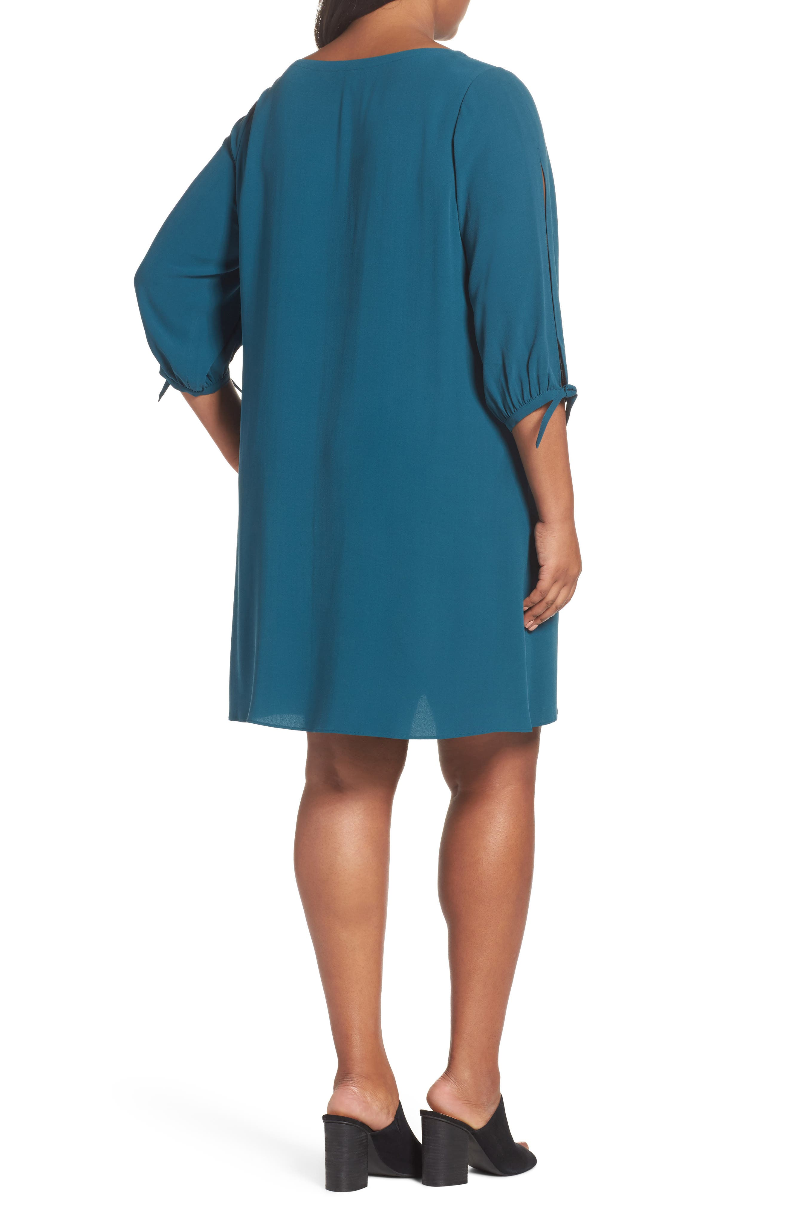 Silk Shift Dress,                             Alternate thumbnail 4, color,