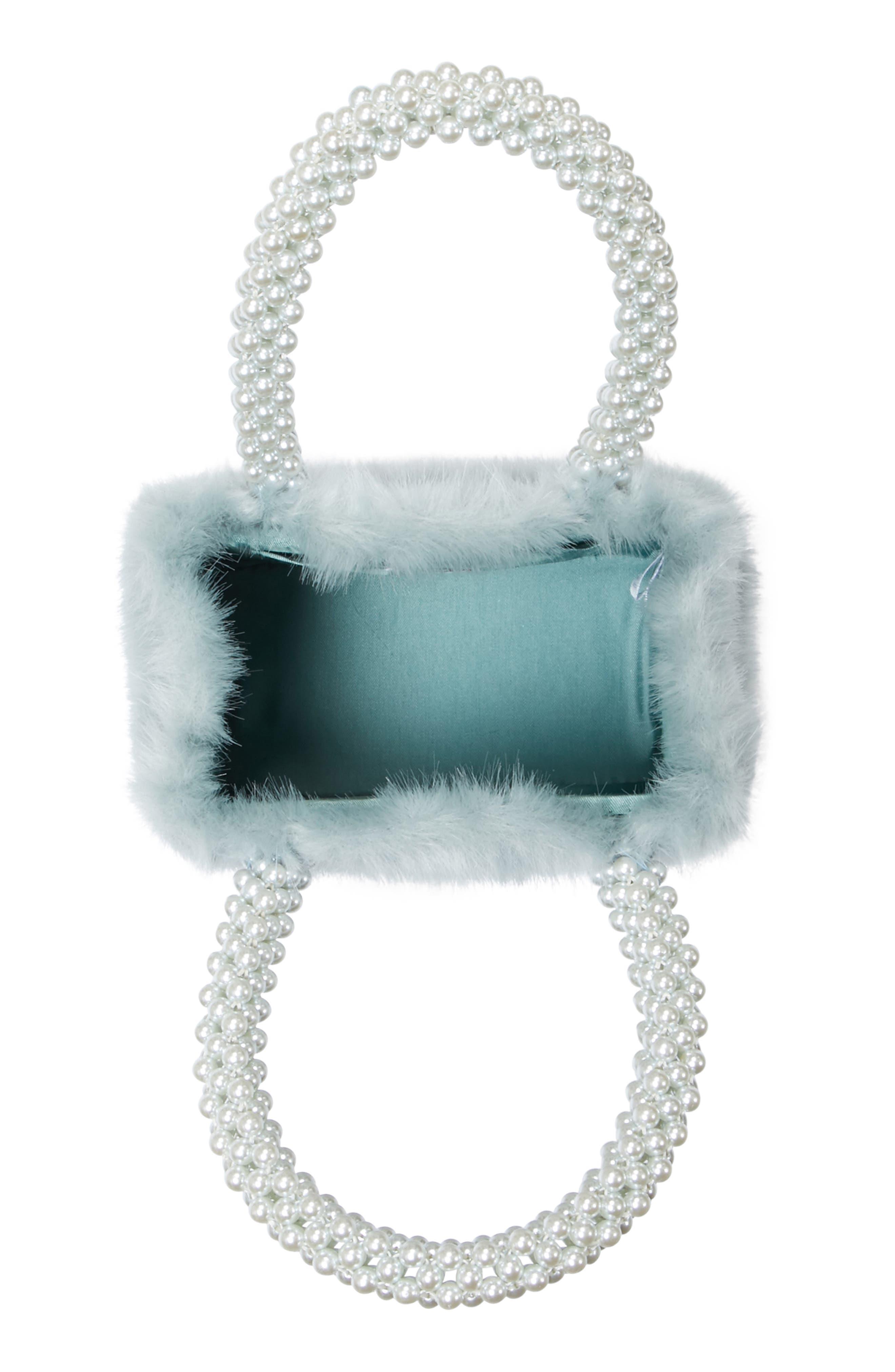 Una Check Faux Fur Bag with Imitation Pearl Handles,                             Alternate thumbnail 4, color,                             440