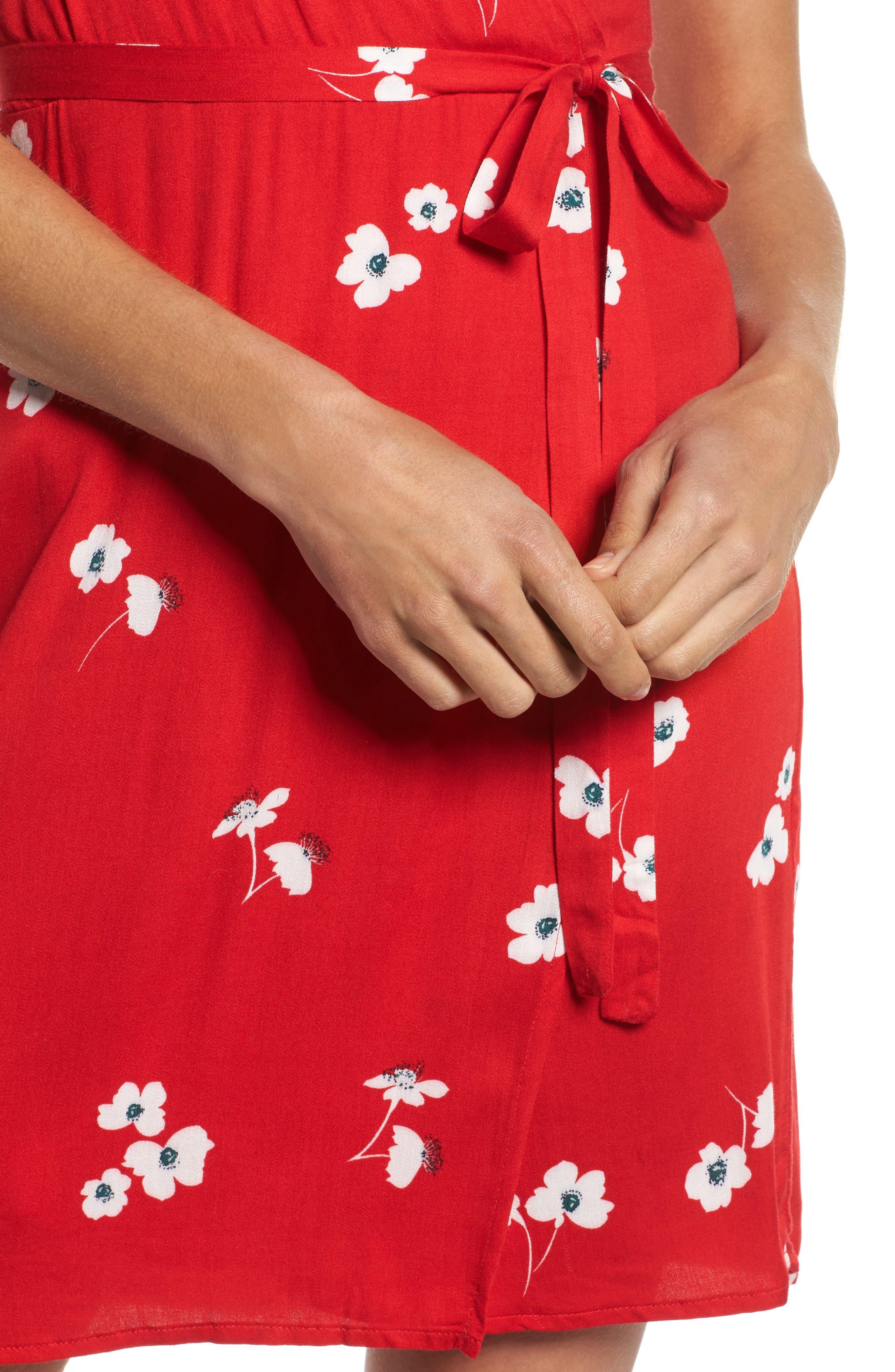 Edie Floral Faux Wrap Dress,                             Alternate thumbnail 4, color,                             645