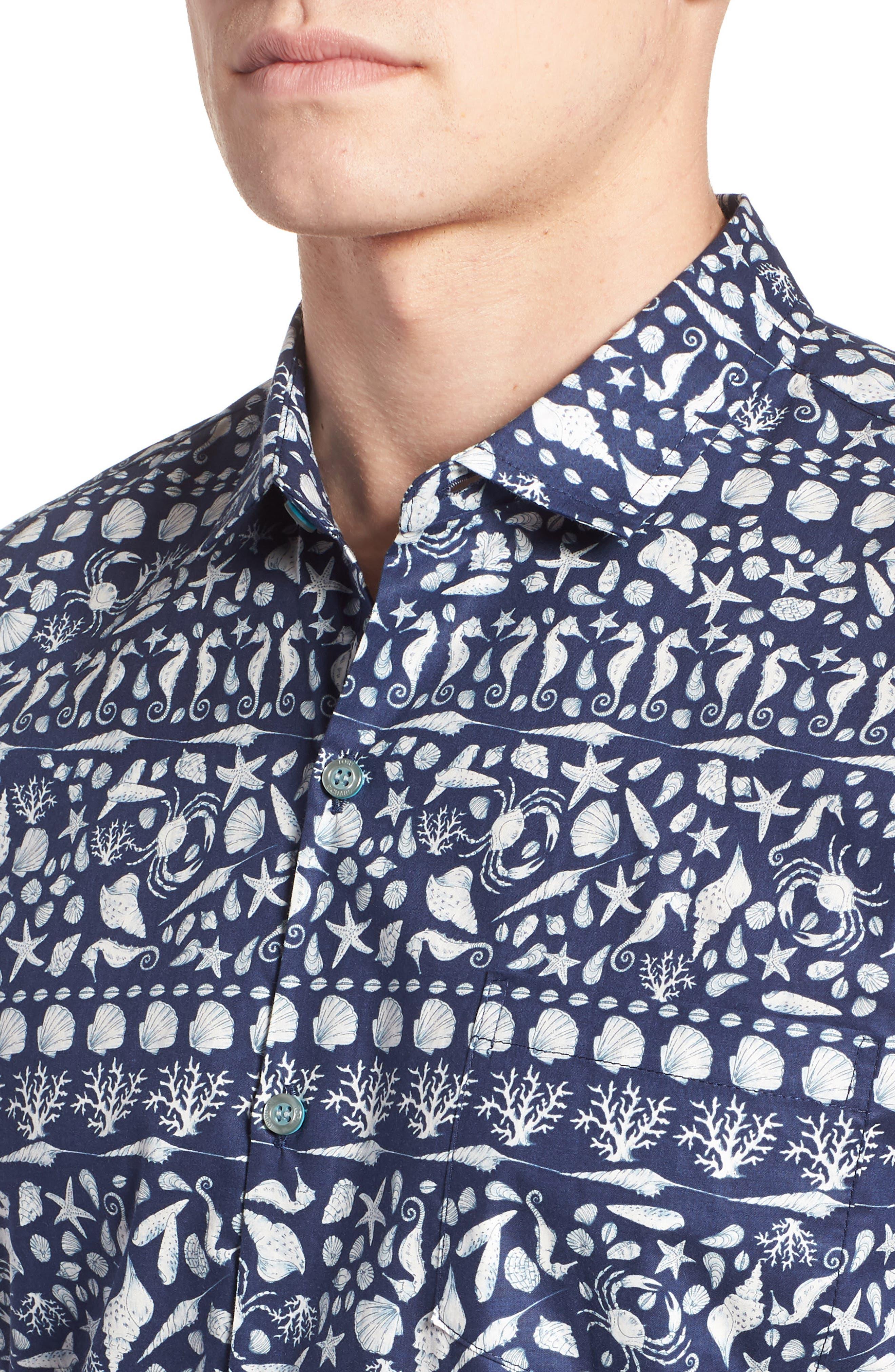 Lord Shells Trim Fit Camp Shirt,                             Alternate thumbnail 4, color,                             NAVY