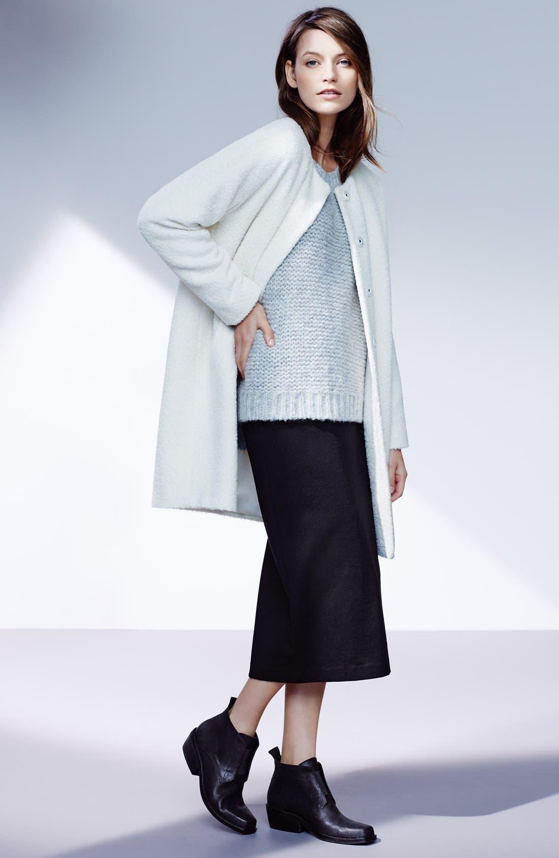 Wool & Alpaca Blend Collarless Coat,                             Alternate thumbnail 4, color,                             001