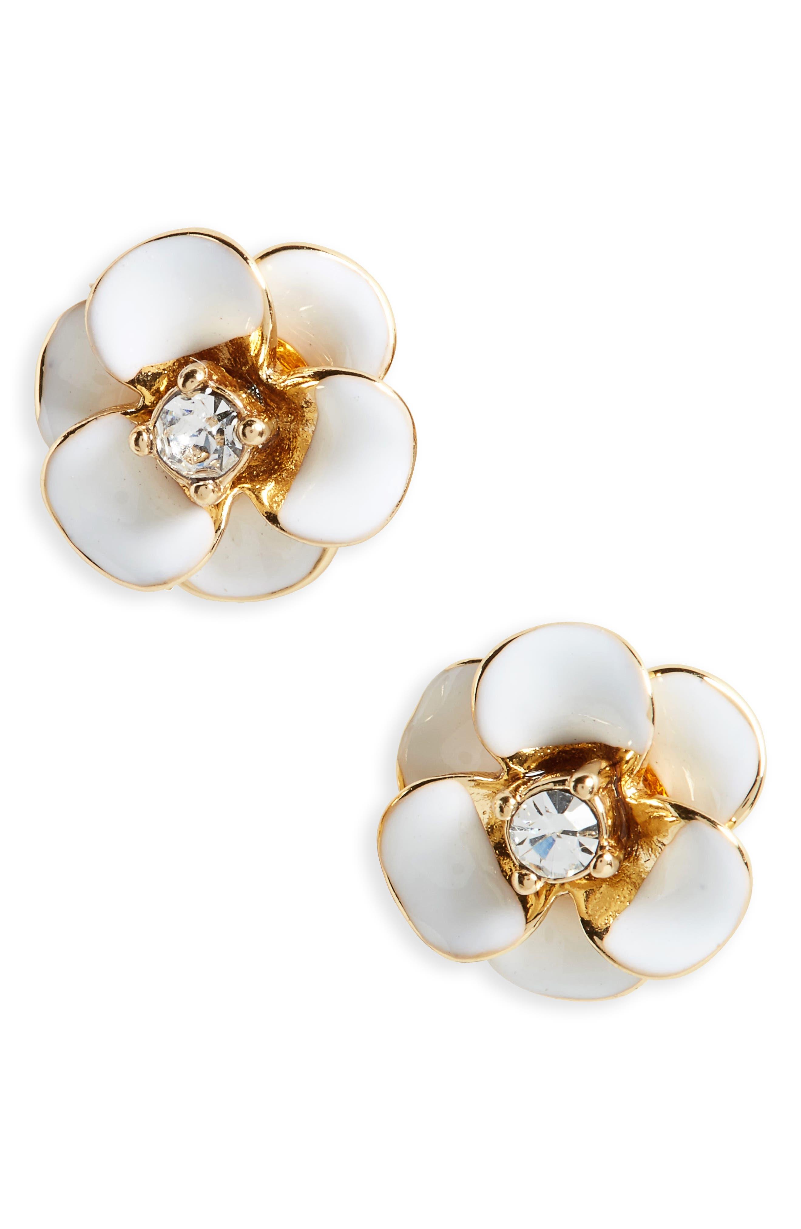 shine on flower stud earrings,                         Main,                         color, WHITE