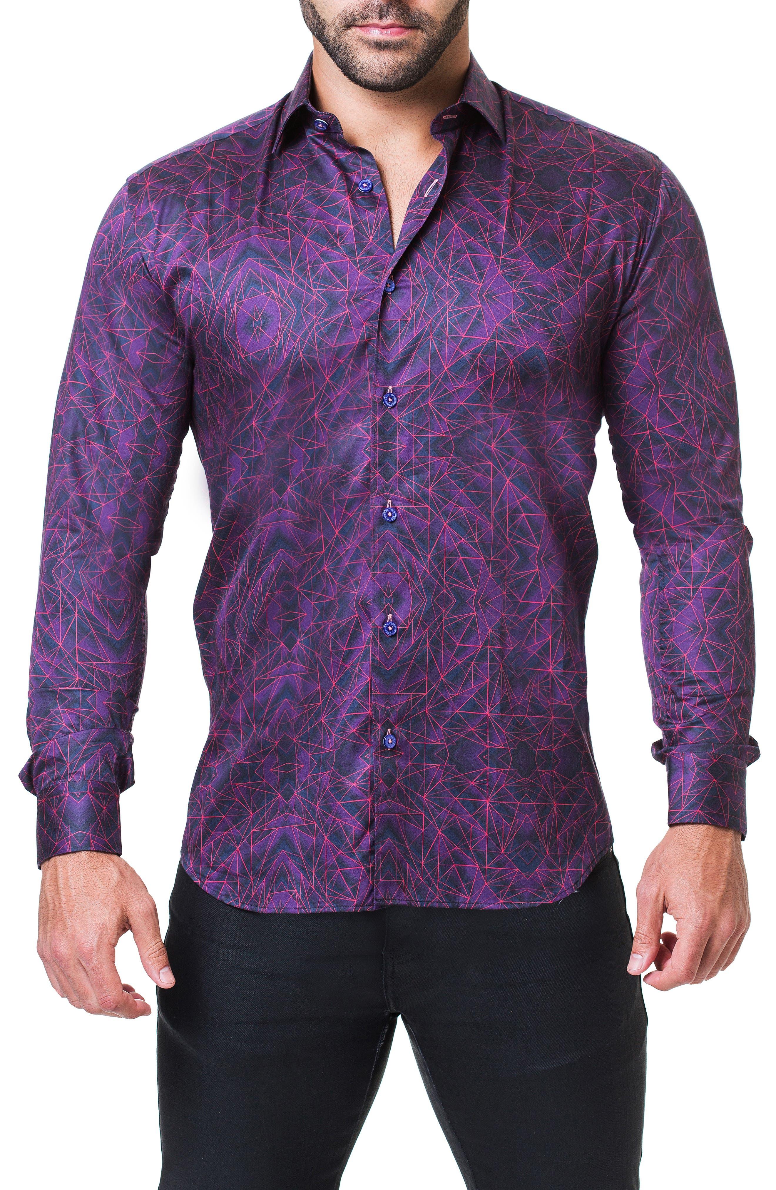 Fibonacci Tunnel Print Sport Shirt,                         Main,                         color, PURPLE