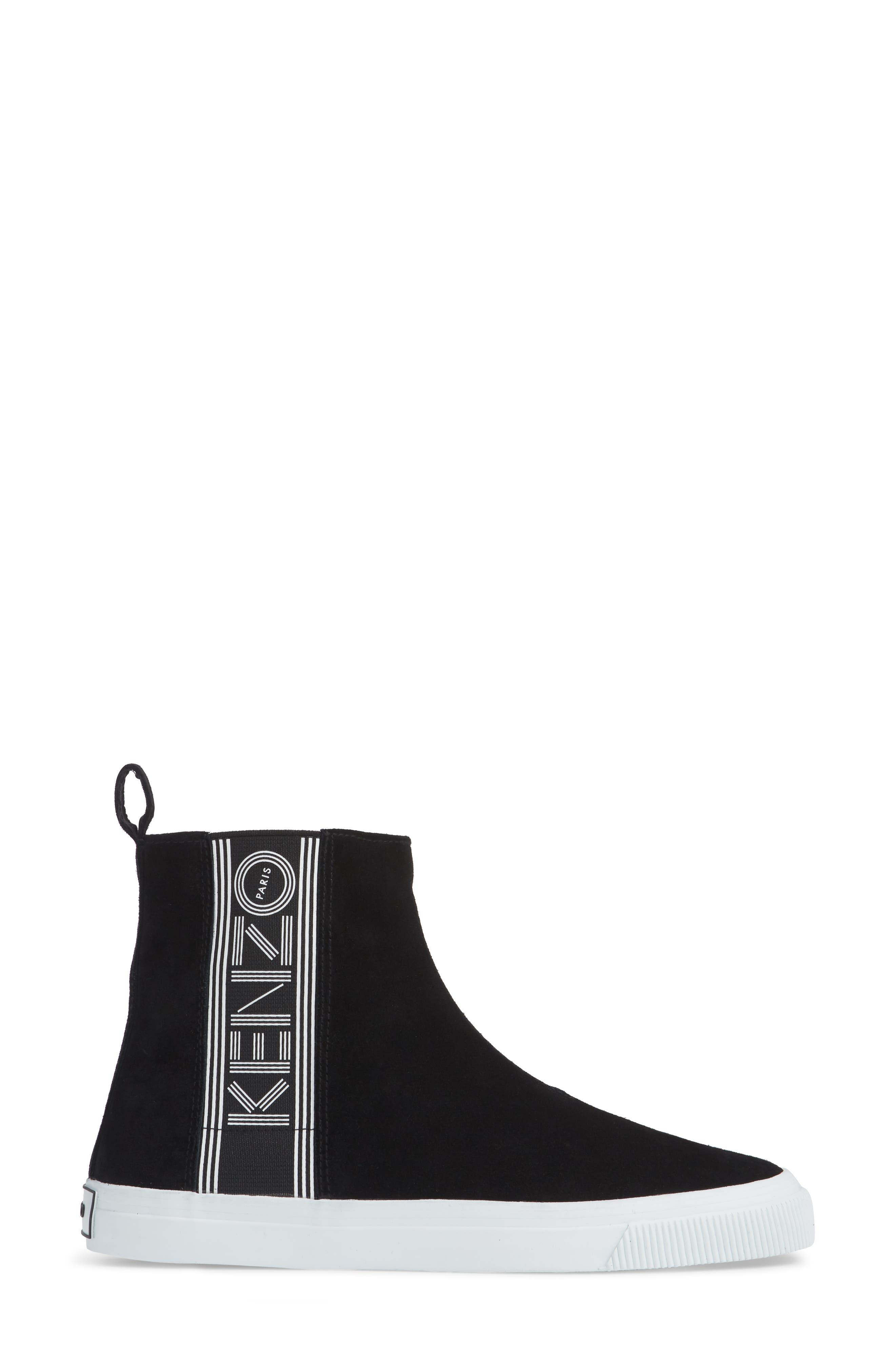 Kapri High Top Sneaker,                             Alternate thumbnail 3, color,                             BLACK