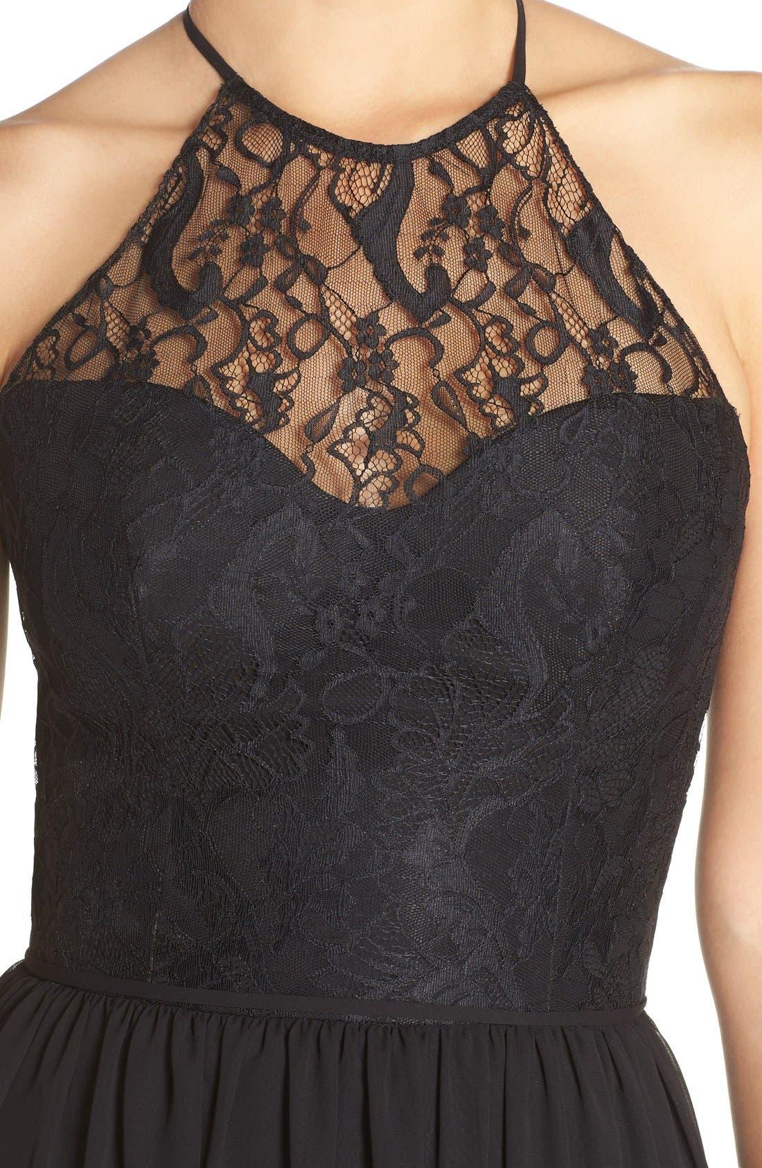 Lace & Chiffon Halter Gown,                             Alternate thumbnail 2, color,                             001