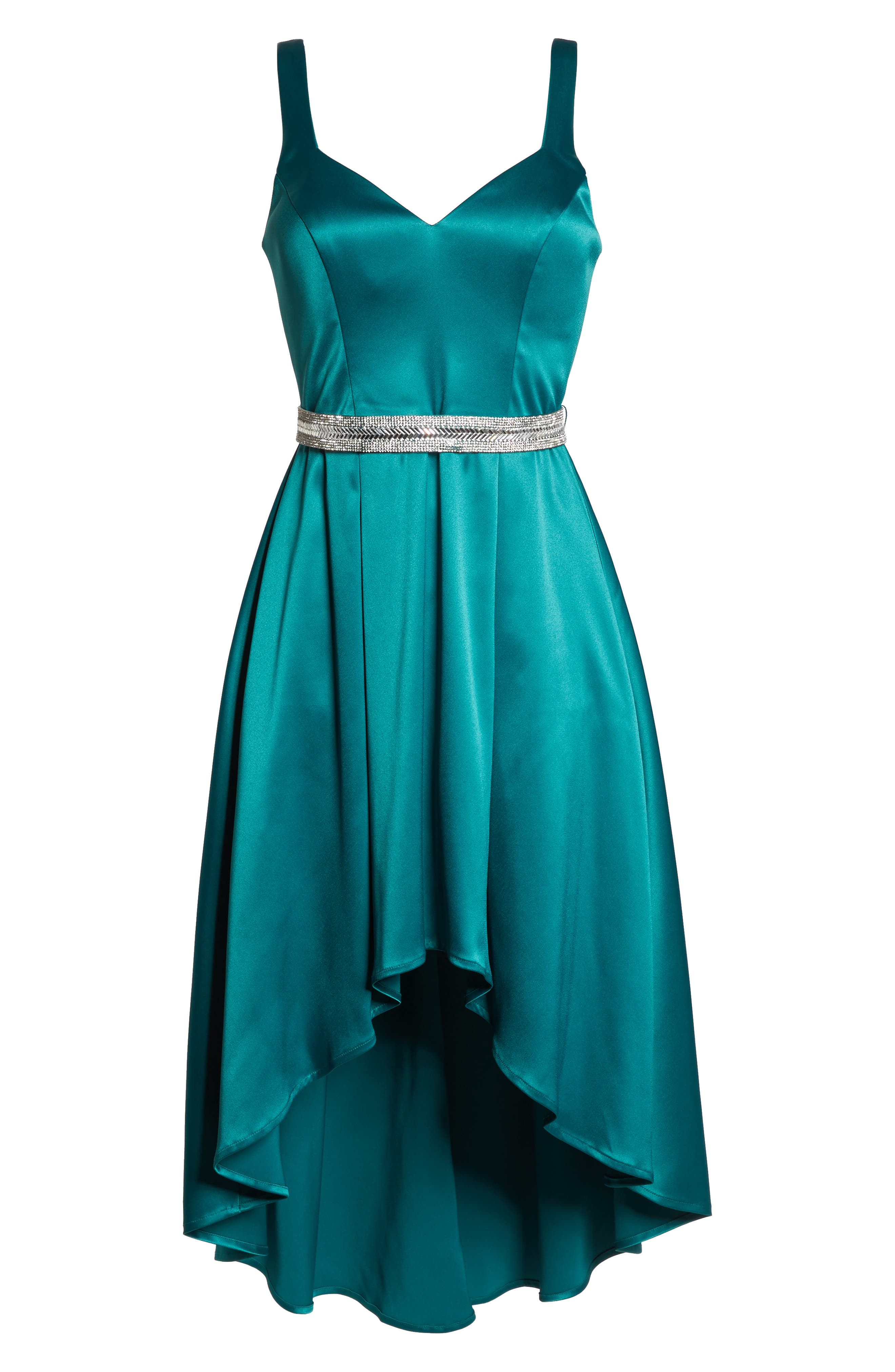 Belted Stretch Satin High/Low Dress,                             Alternate thumbnail 7, color,                             EMERALD