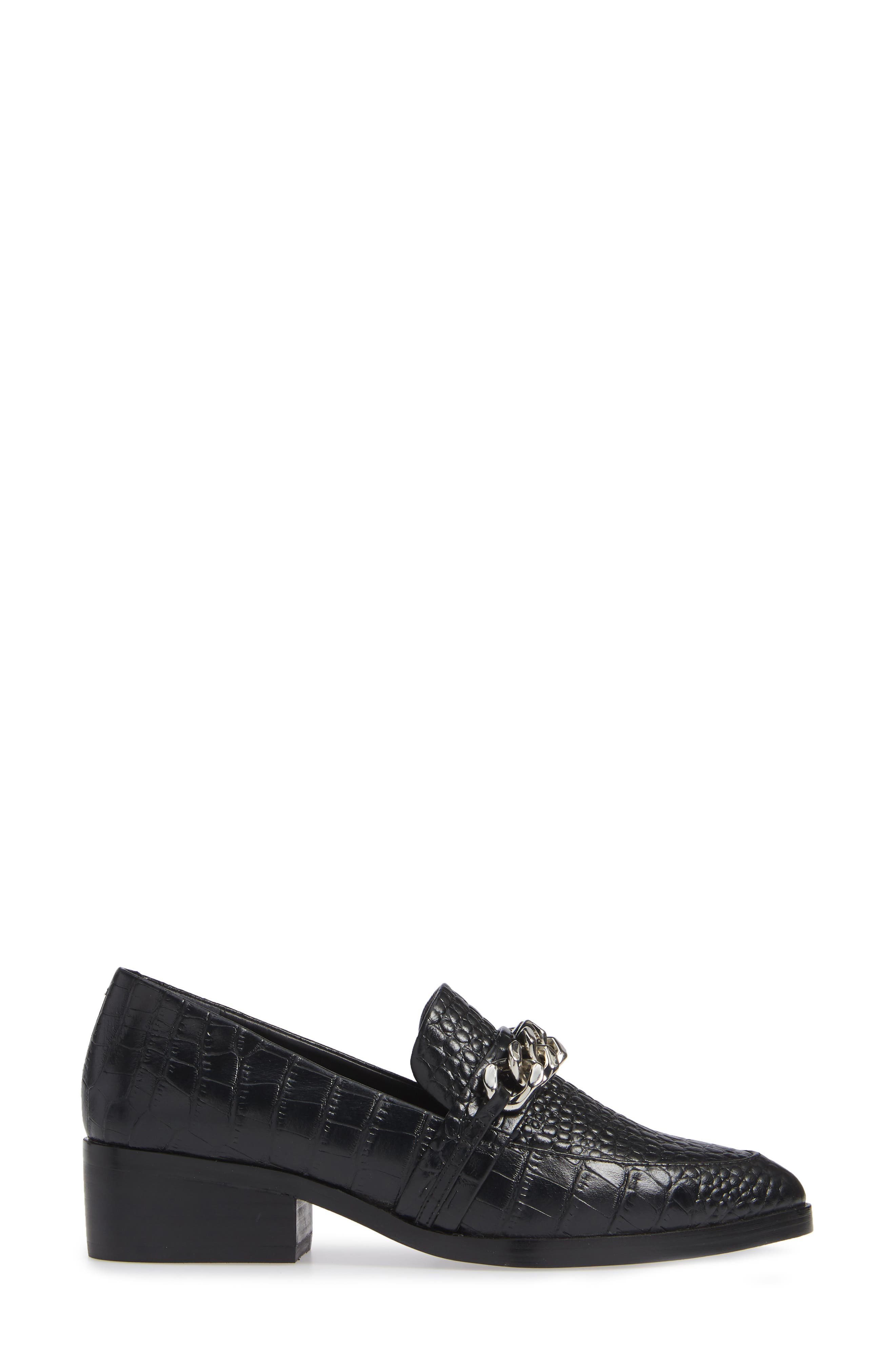 Molly Loafer,                             Alternate thumbnail 3, color,                             BLACK CROC LEATHER