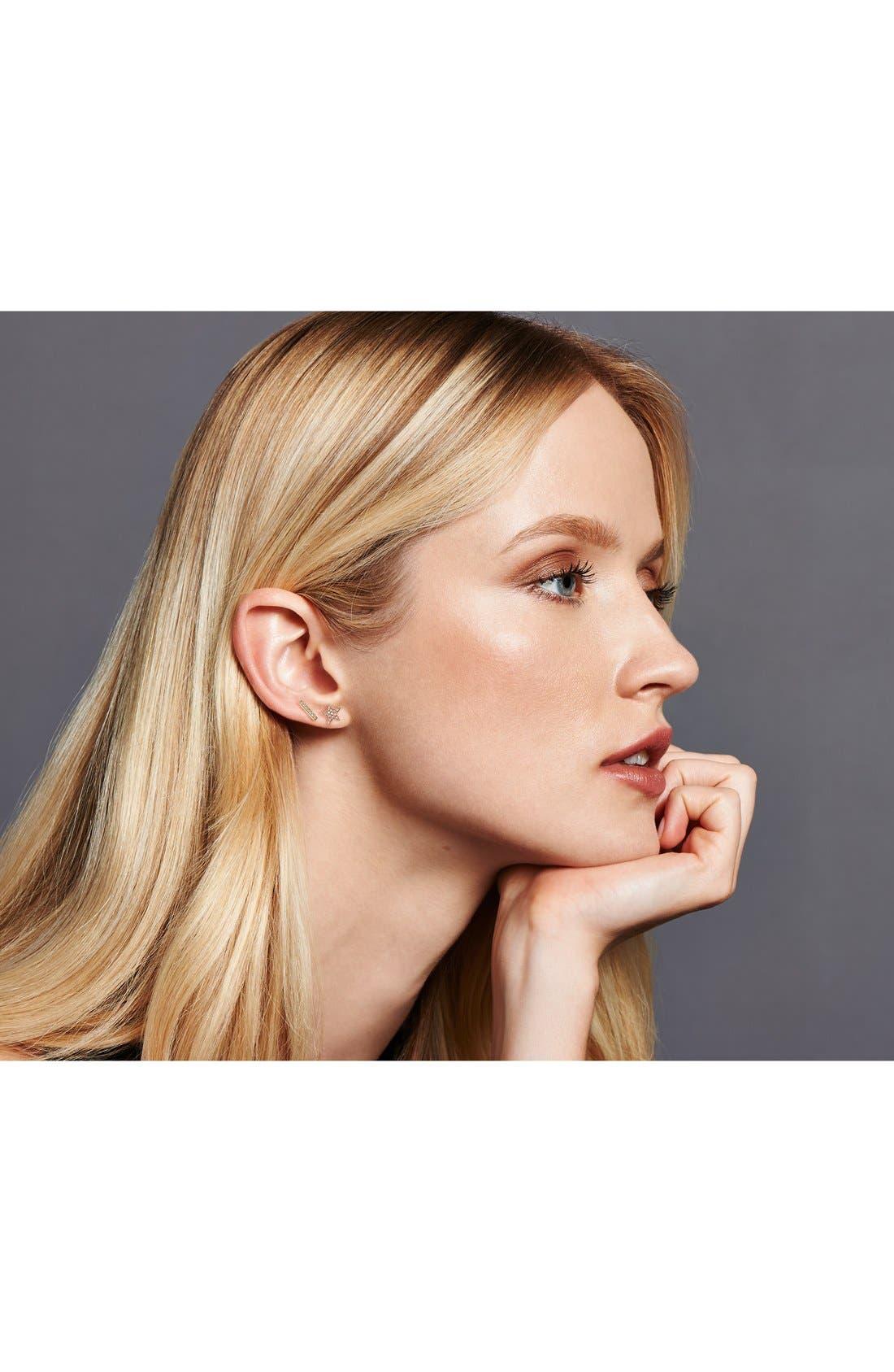 Sylvie Rose Diamond Bar Stud Earrings,                             Alternate thumbnail 3, color,                             BLACK RHODIUM
