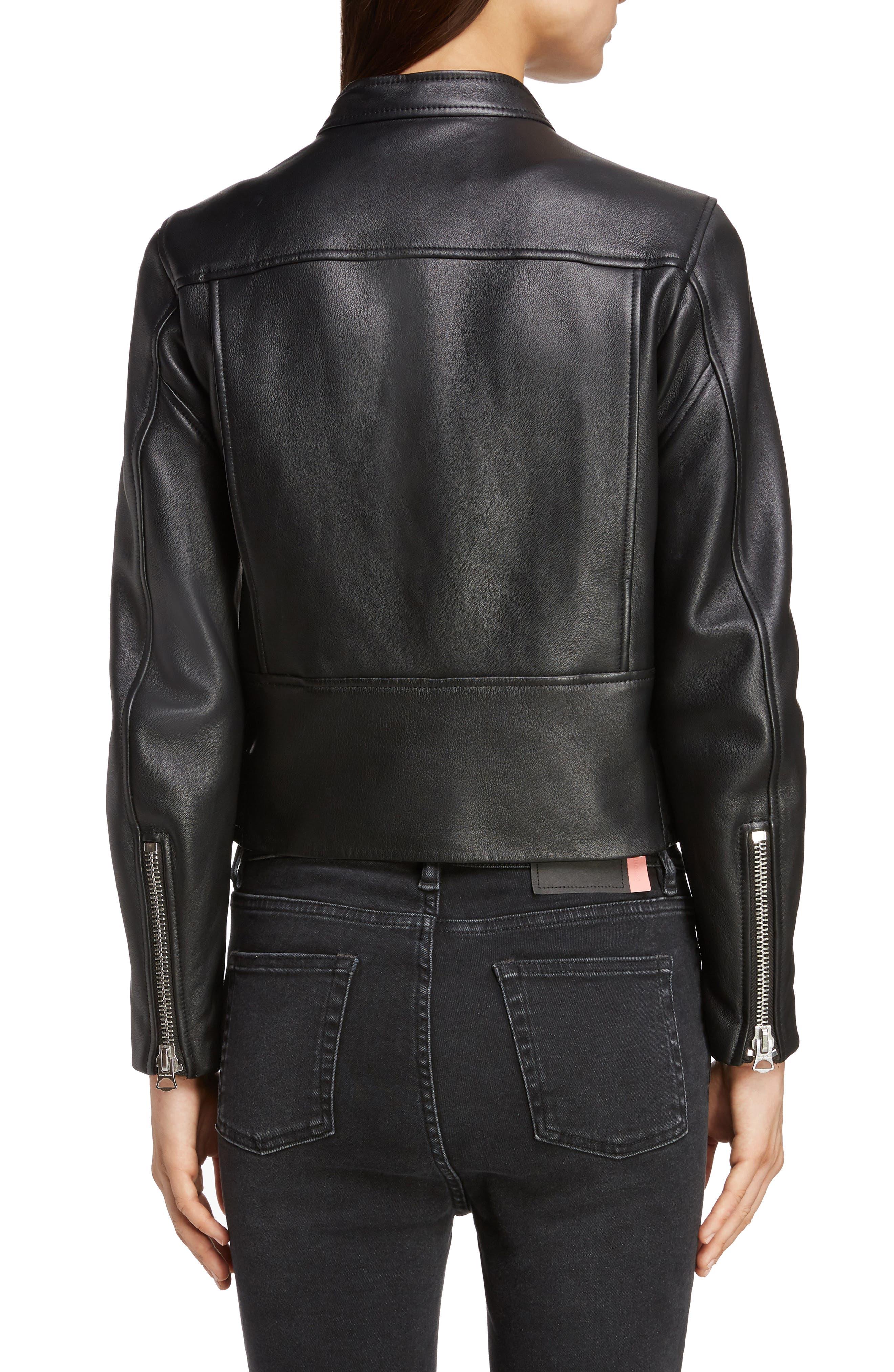 ACNE STUDIOS,                             Lewis Leather Moto Jacket,                             Alternate thumbnail 2, color,                             BLACK